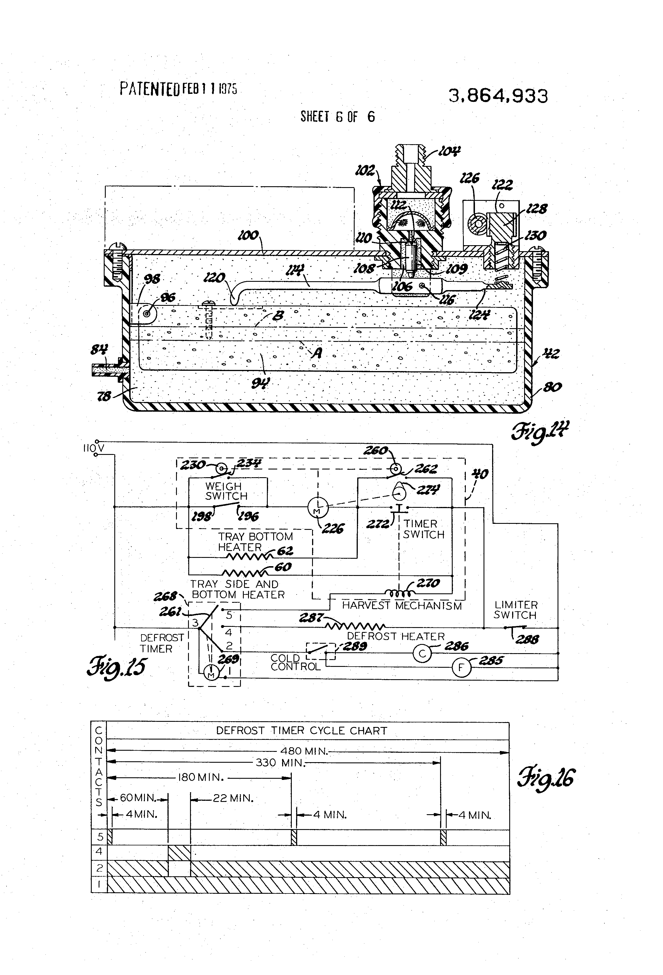 patent us3864933 defrost timer arrangement for making clear ice patent drawing