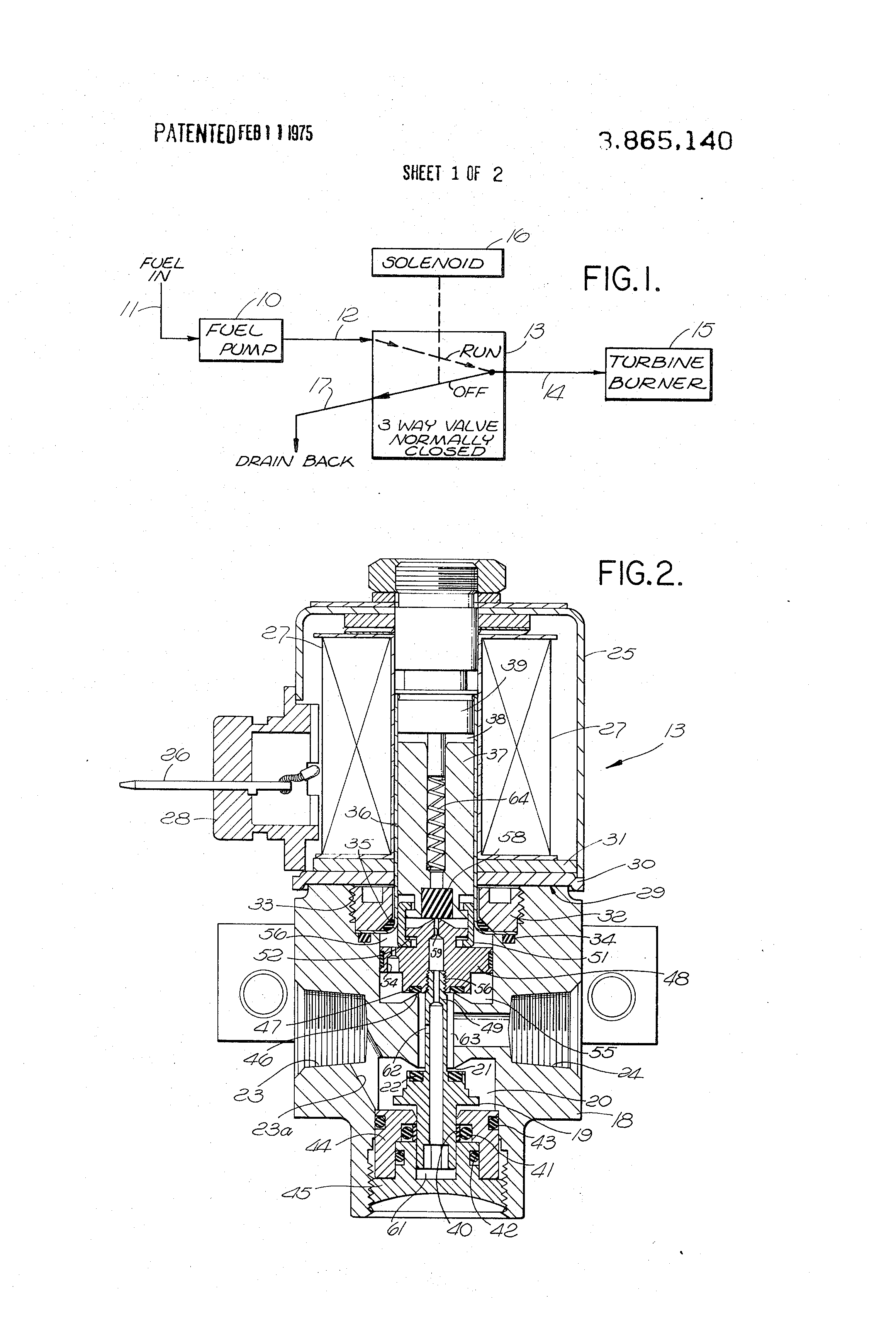 patent us3865140 - solenoid-operated, three-way fuel valve with pressure  balancing - google patents