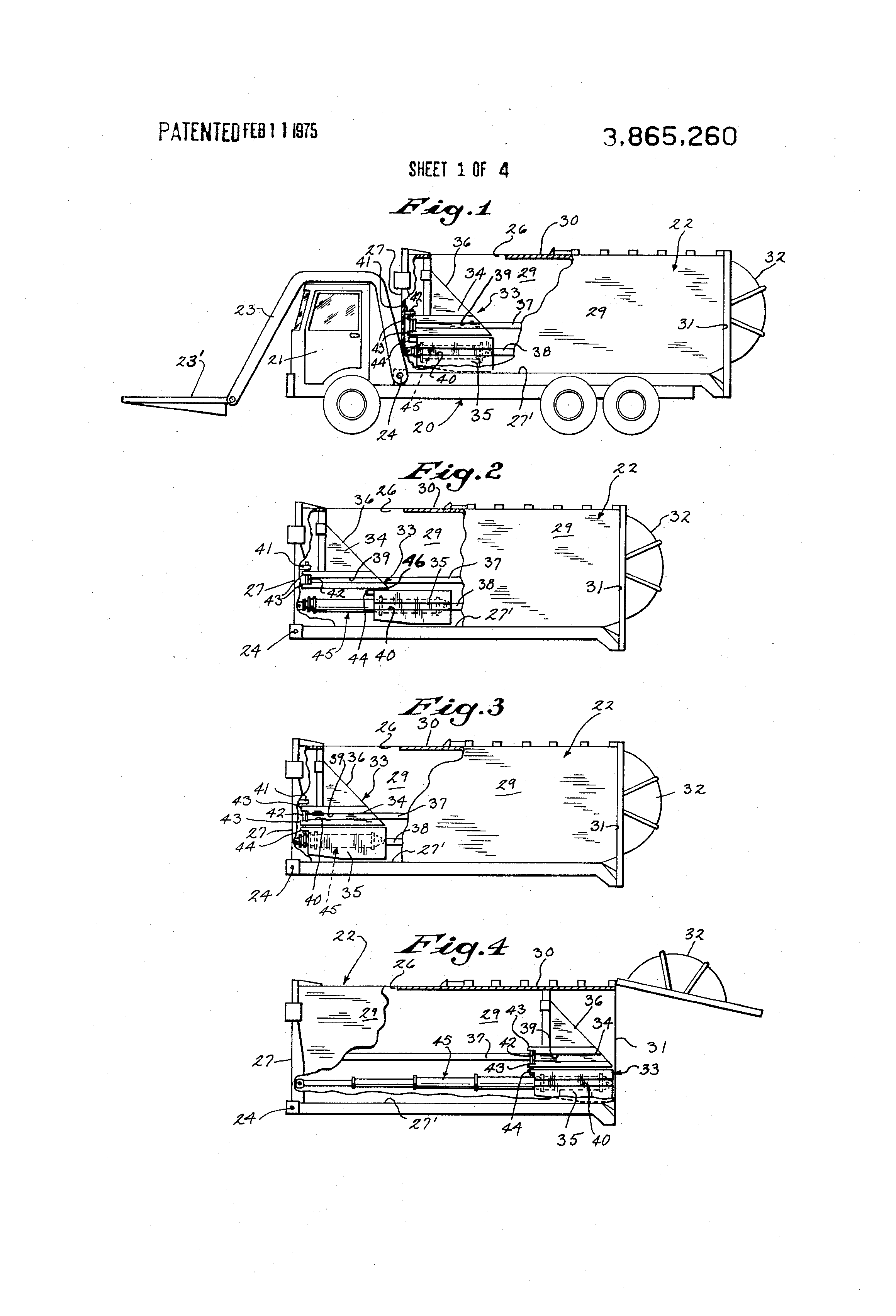 US3865260 1 patent us3865260 refuse body with two part packer ejector platen Heil Front Loader Dimension at nearapp.co