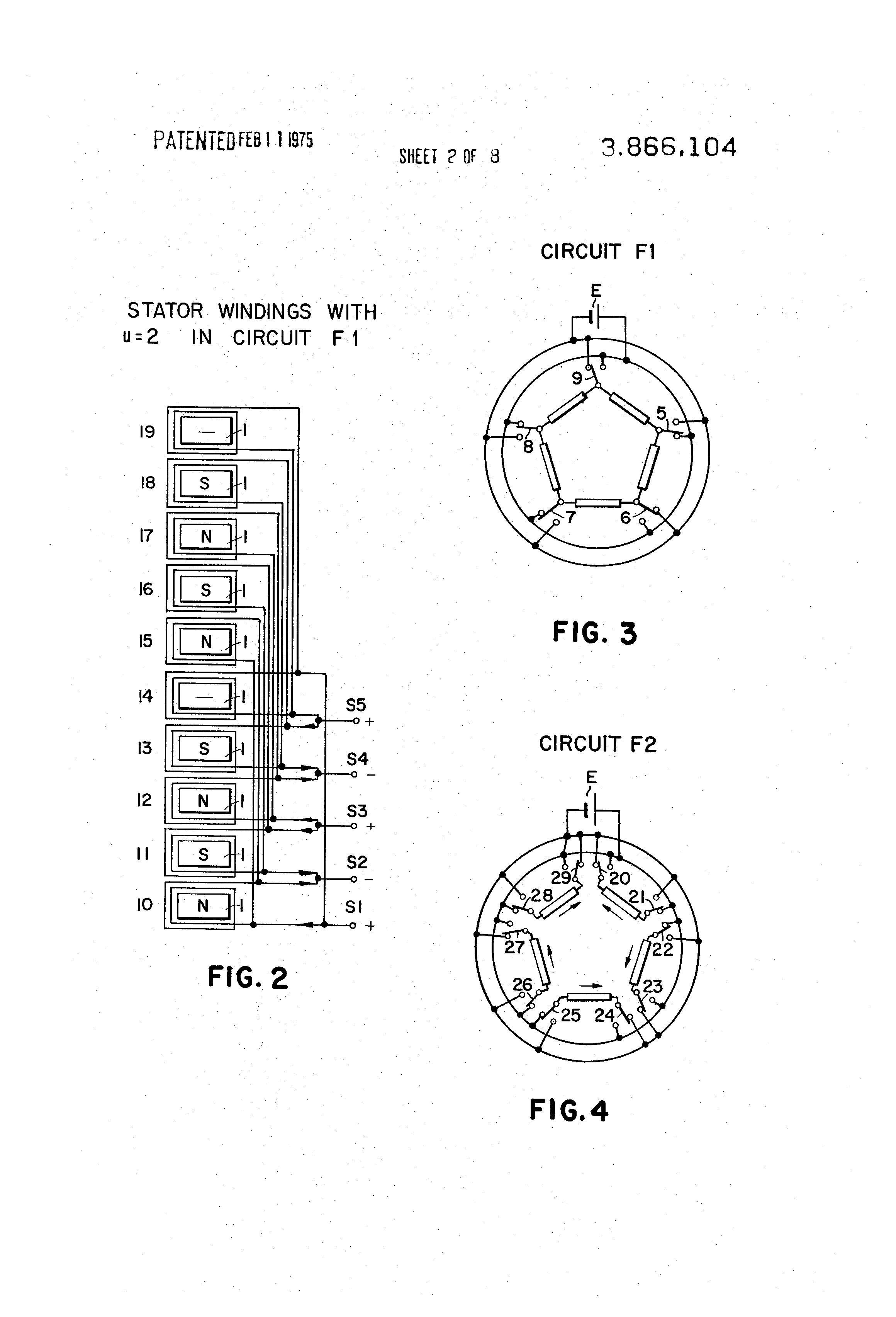 patent us3866104 - five phase stepping motor
