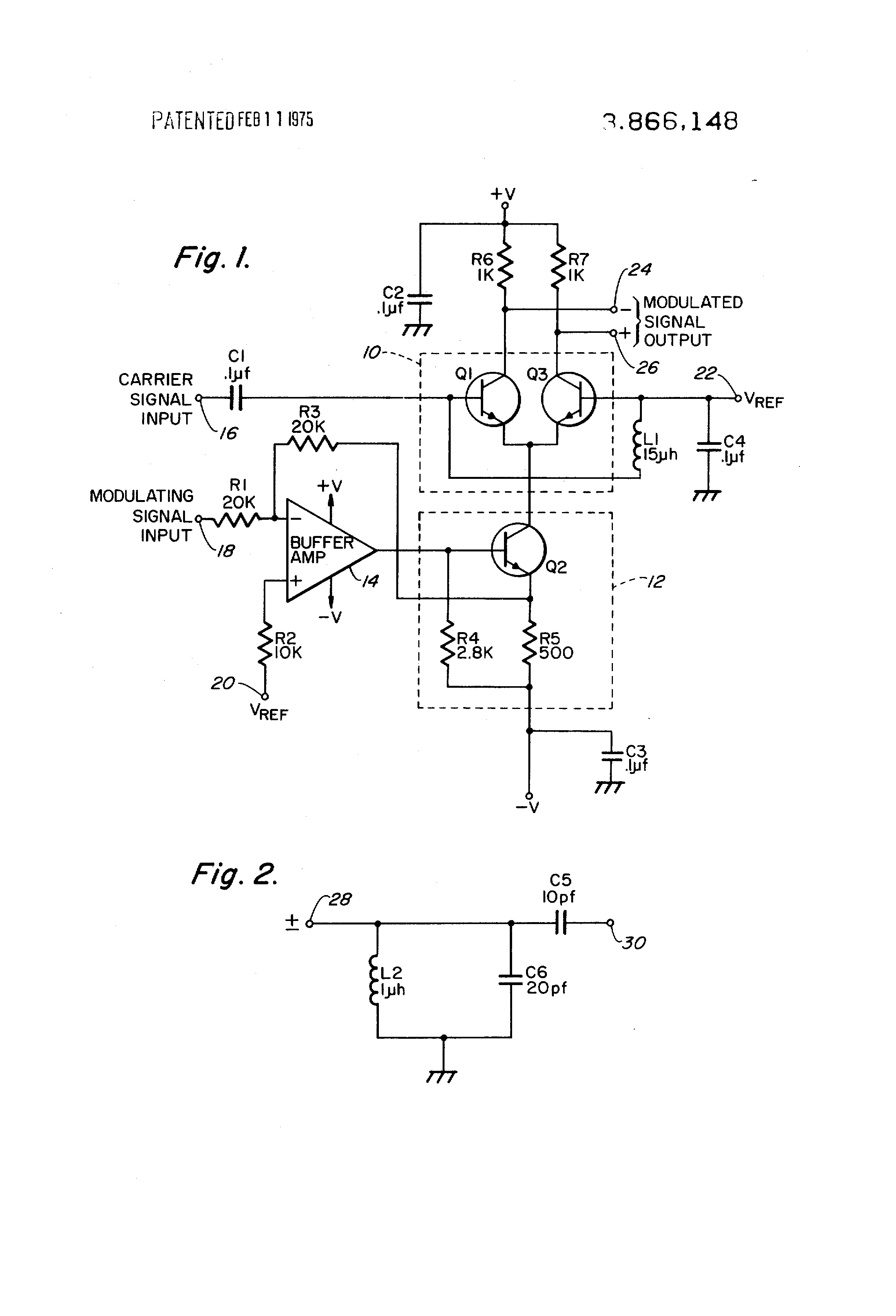patent us3866148 - amplitude modulator having a transistor controlled bias current