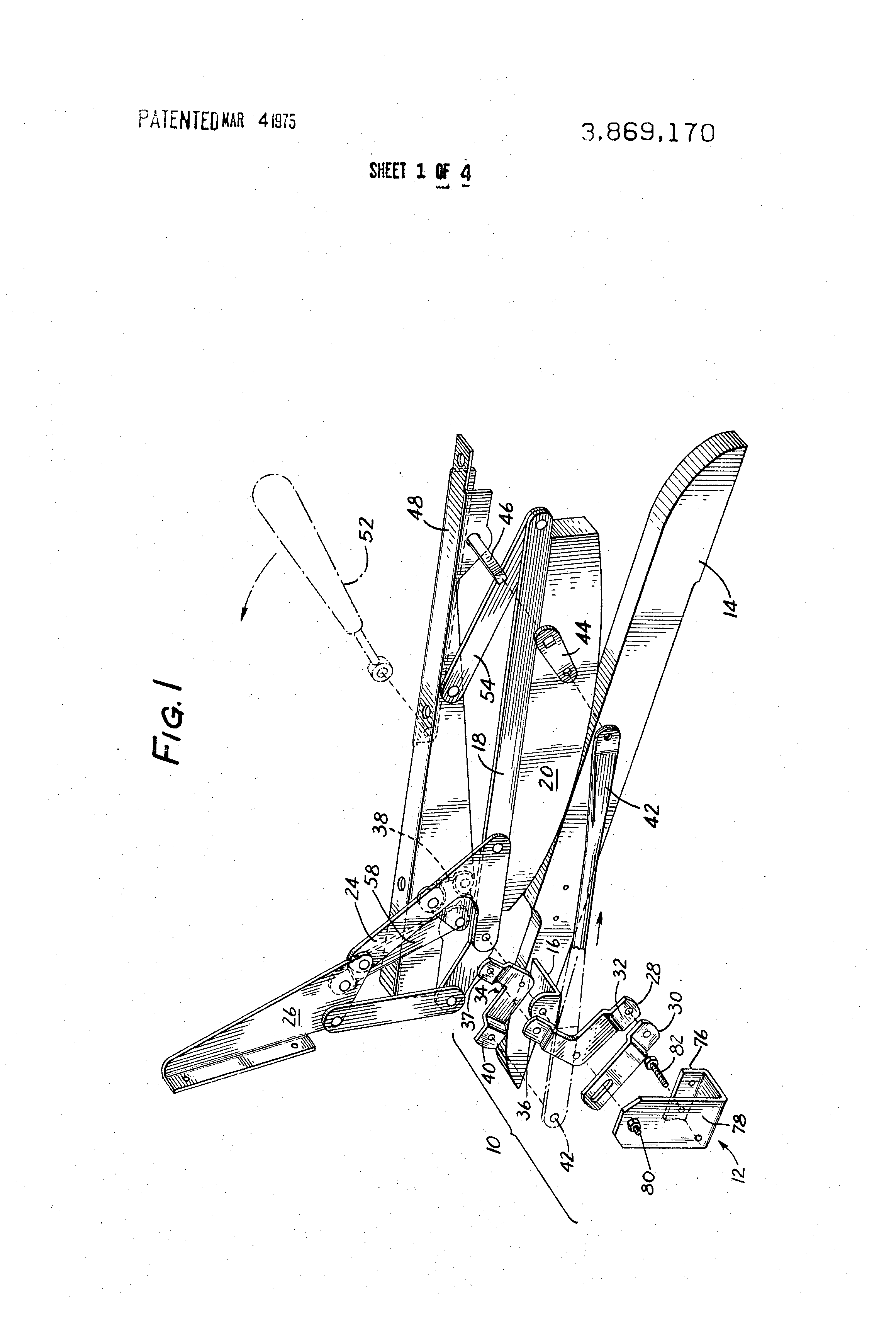 Patent Us3869170 Locking Mechanism For Reclining Chairs