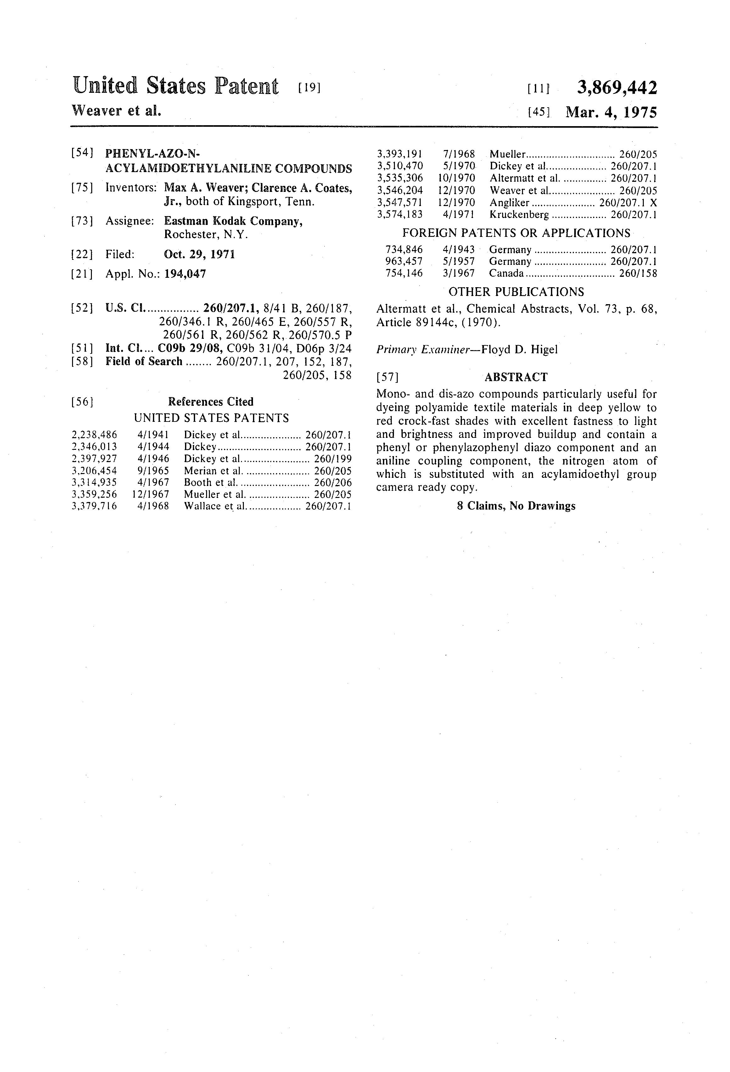 Patent US3869442 - Phenyl-azo-n-acylamidoethylaniline compounds