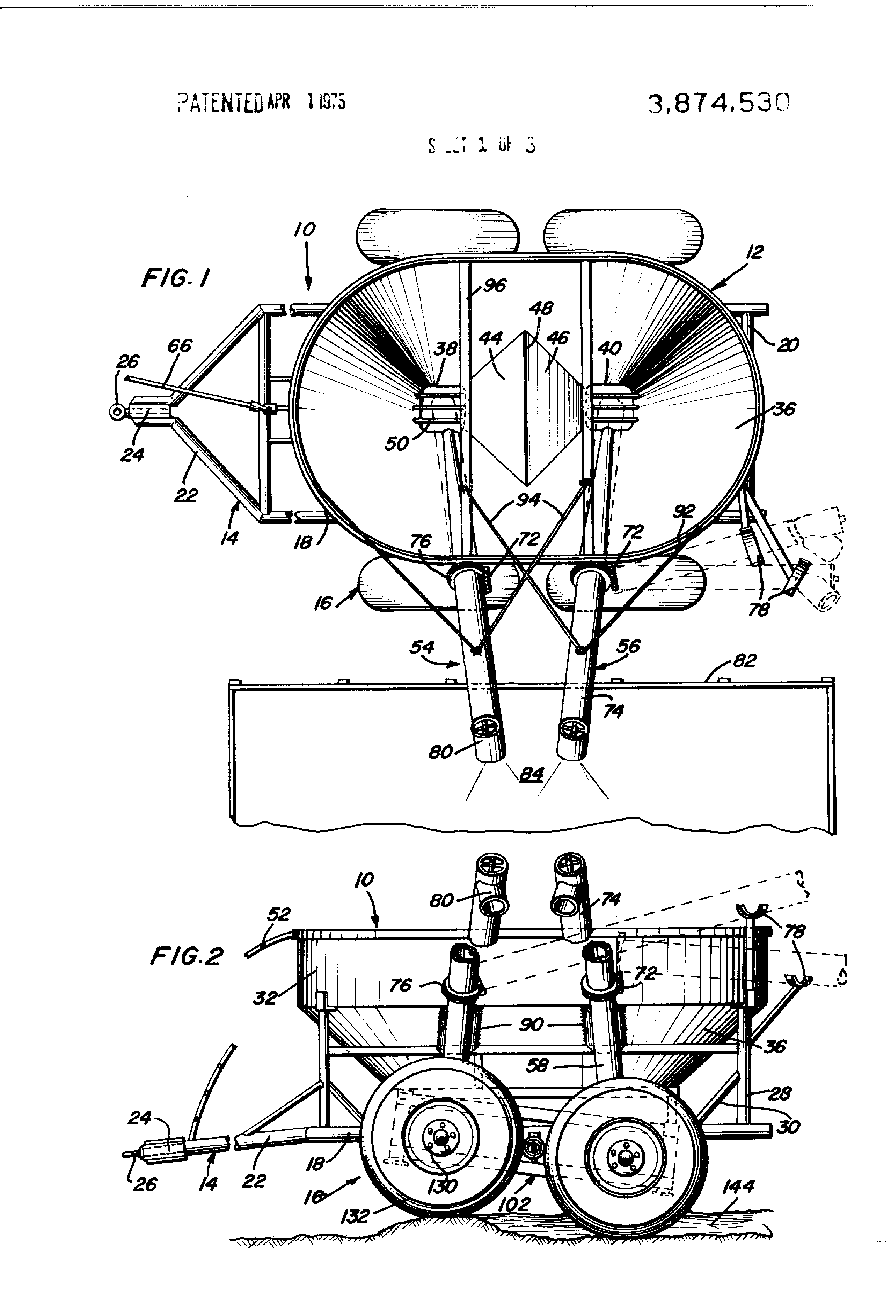 patent us3874530 grain cart google patents patent drawing