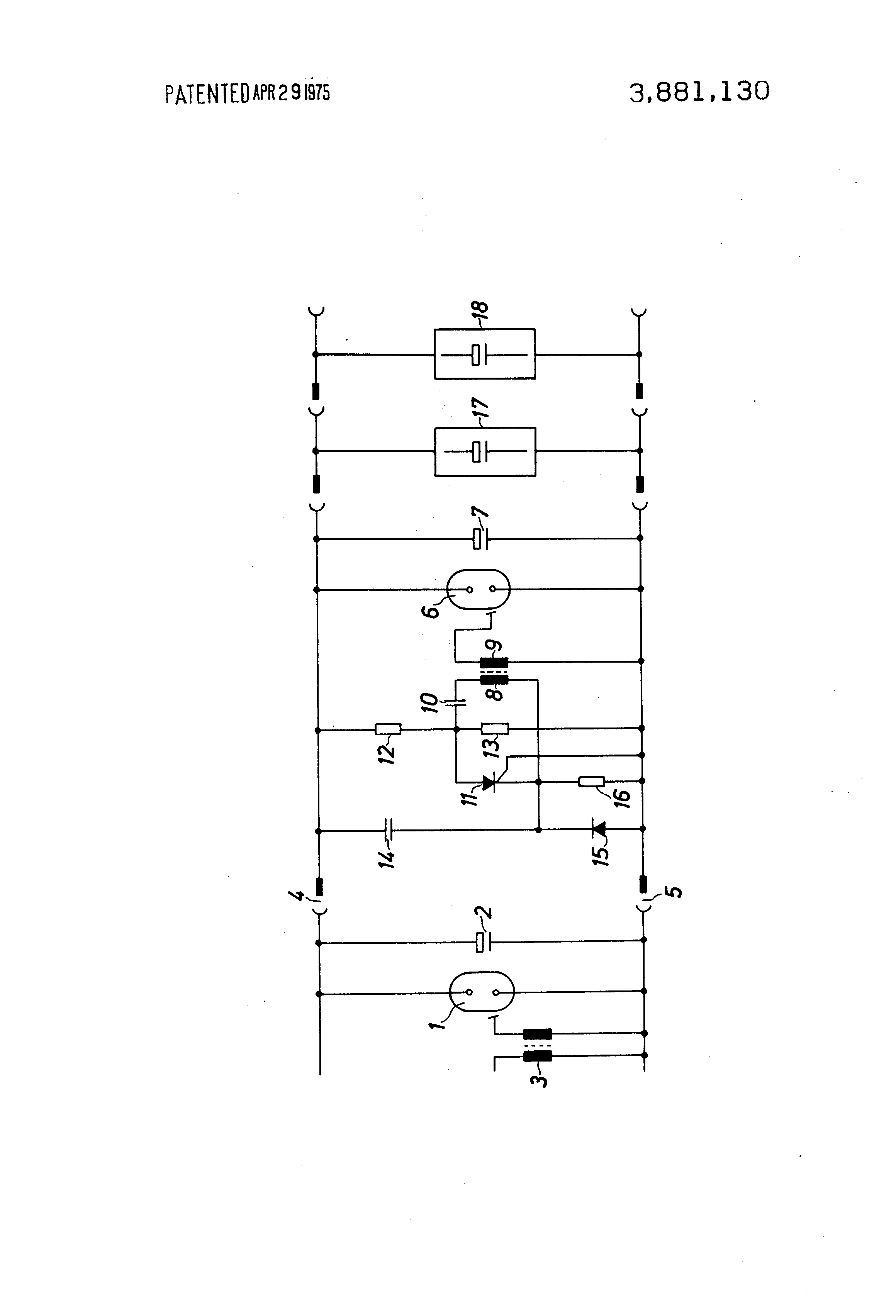 Patent Us3881130 Switching Arrangement For Igniting Supplementary Flash Tube Circuit Capacitor Drawing