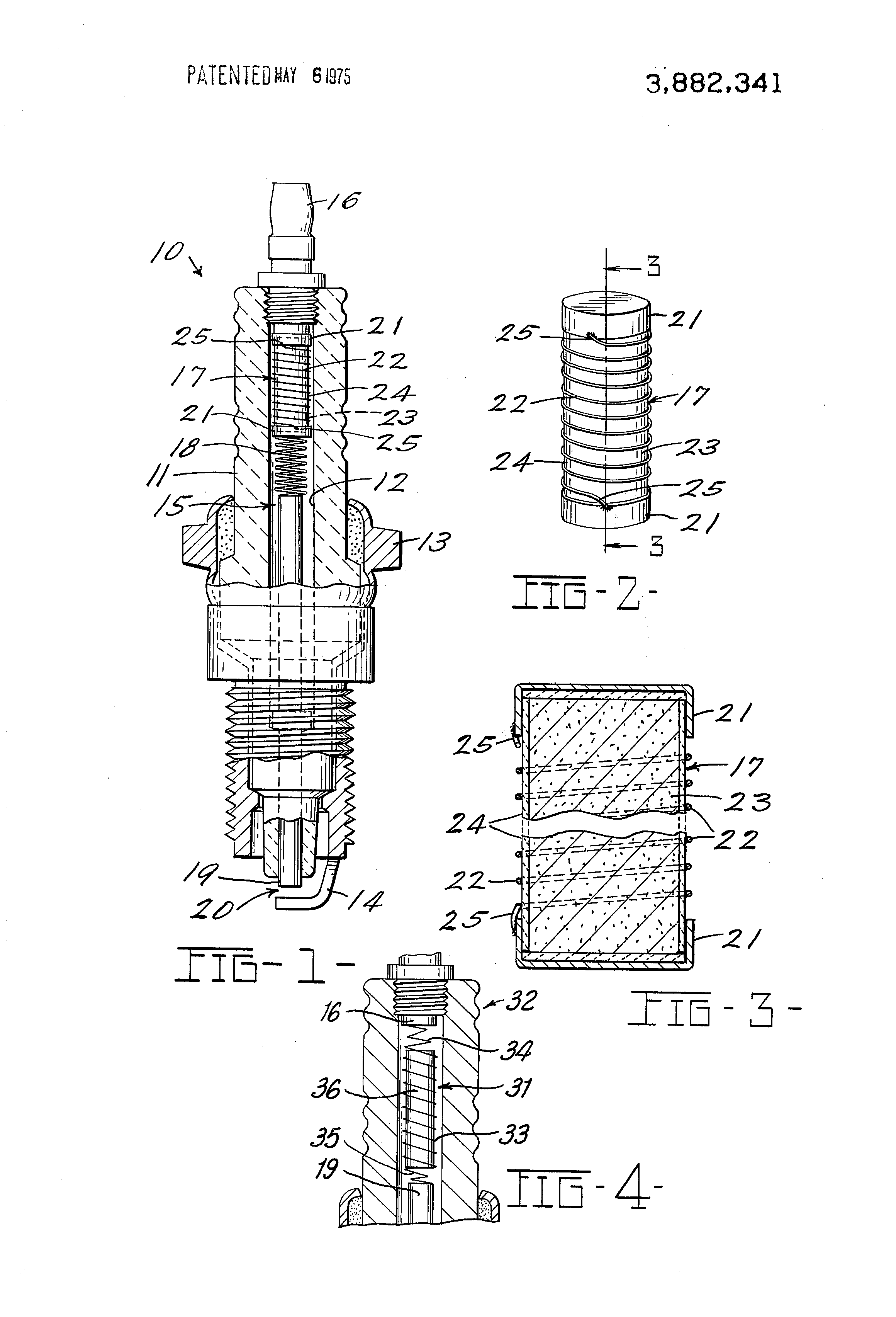 Patent Us3882341 Spark Plug With Inductive Suppressor