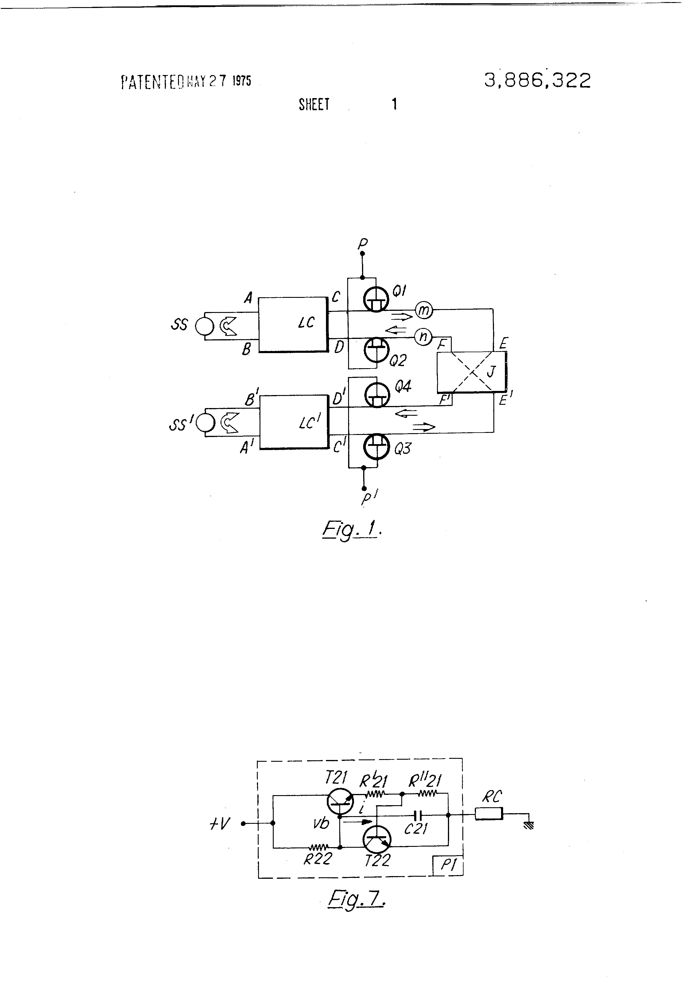patente us3886322 full electronic two wire to four wire conversion RL Circuit patent drawing