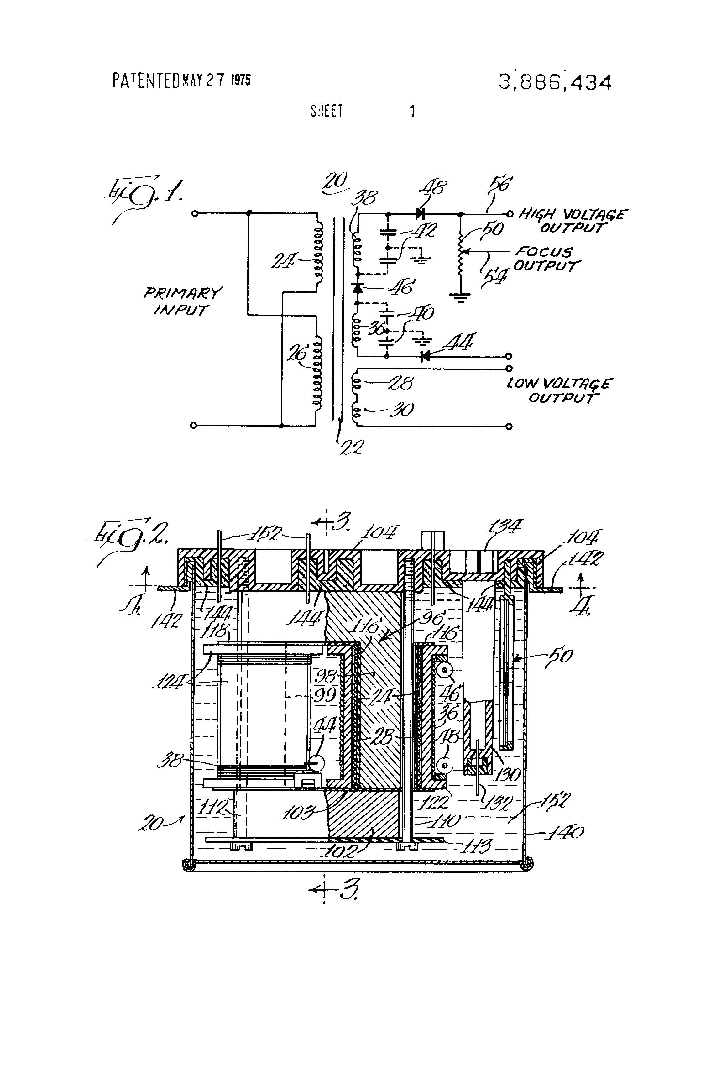 US3886434 1 patent us3886434 flyback transformer google patents flyback transformer wiring diagram at soozxer.org