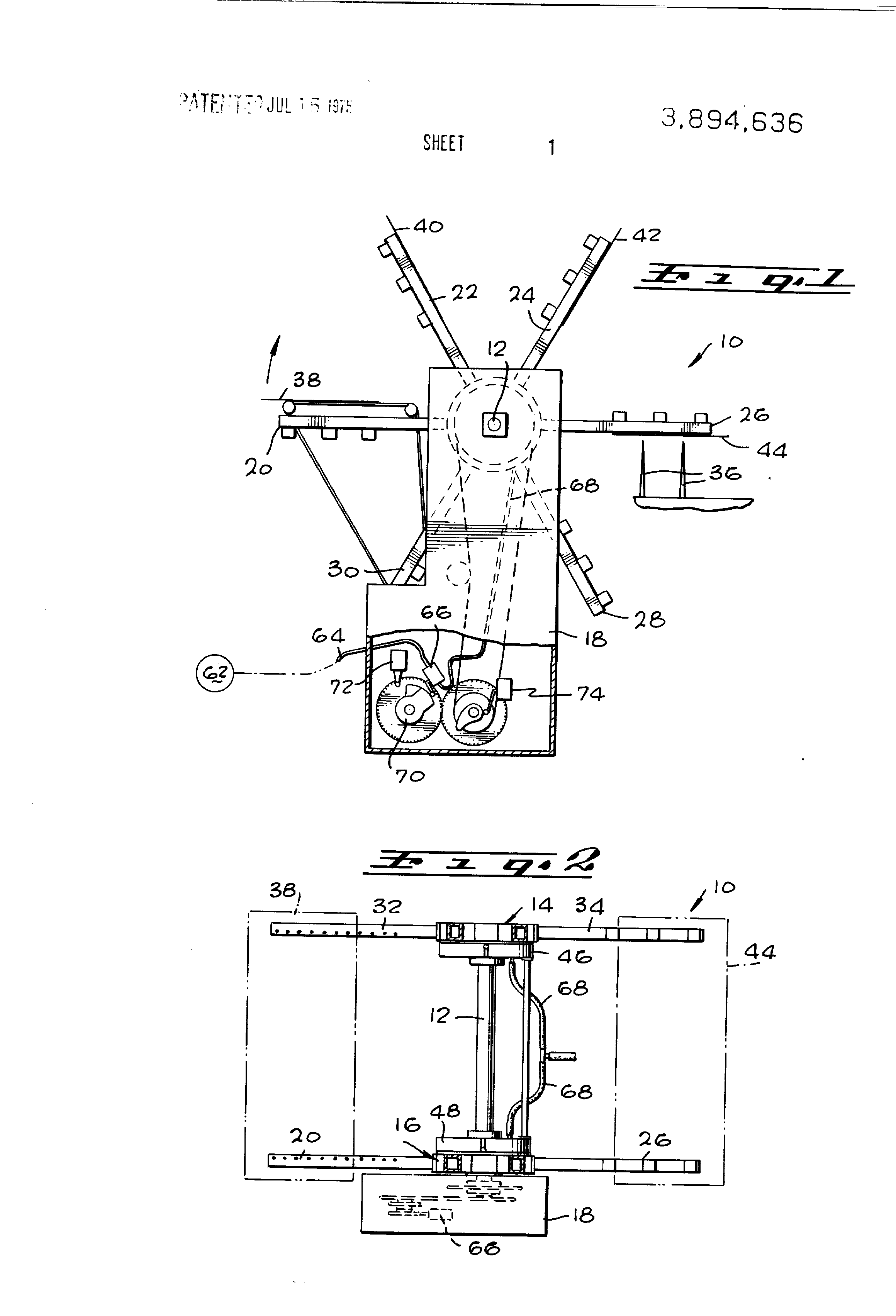 Brevet US3894636 - Air control for bag-stacking machine arms