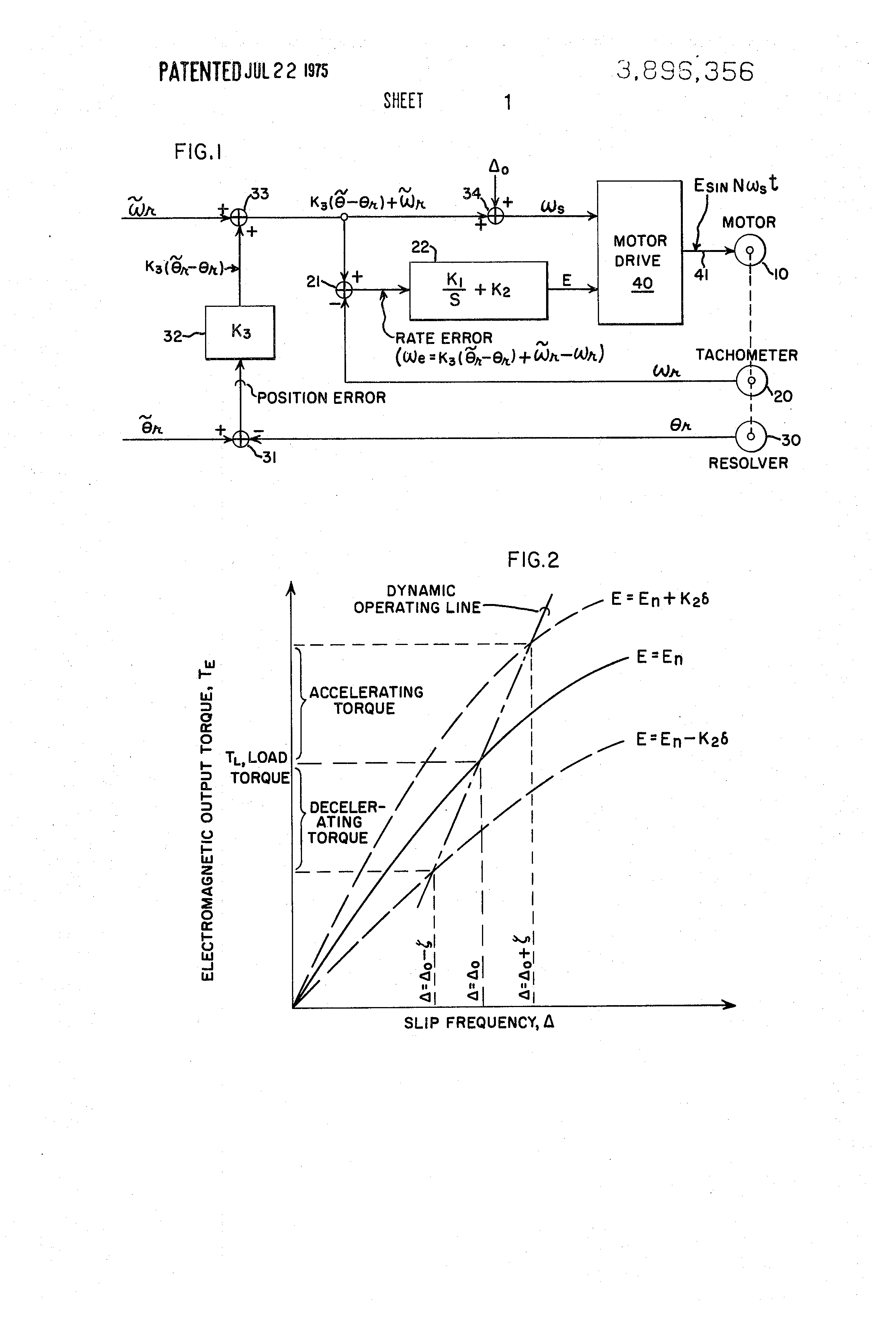 Patent Us3896356 Method And Control System For Improved Stability Diagram Of The Same Motor Shown By Block Drawing