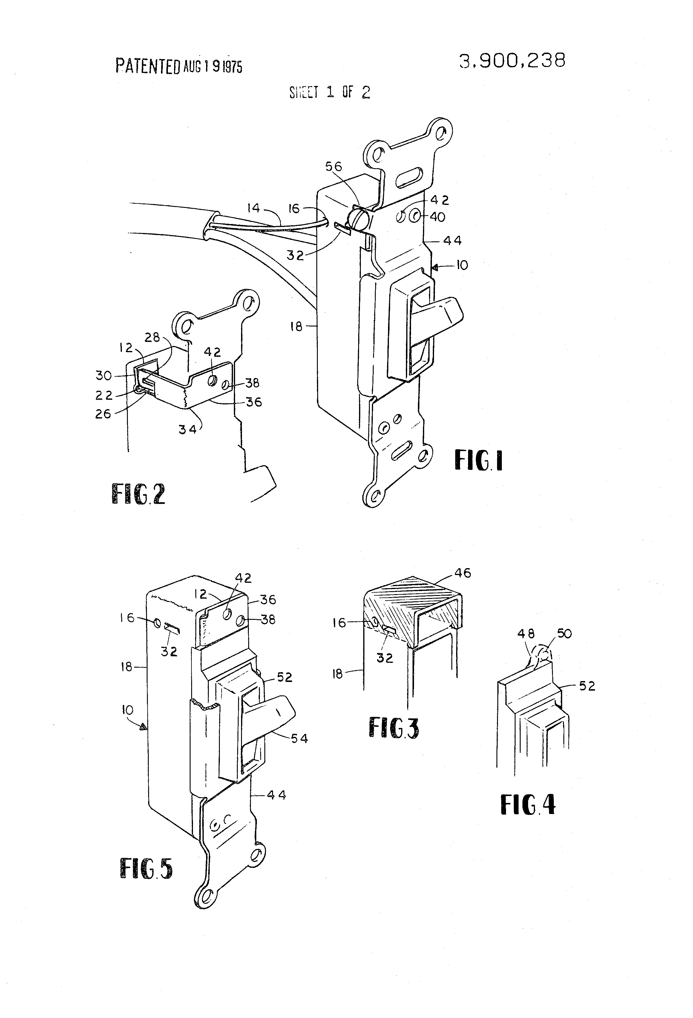 Patent Us3900238 Addition Of A Stab Ground Wire To Electrical Wiring Switches And Receptacles Drawing
