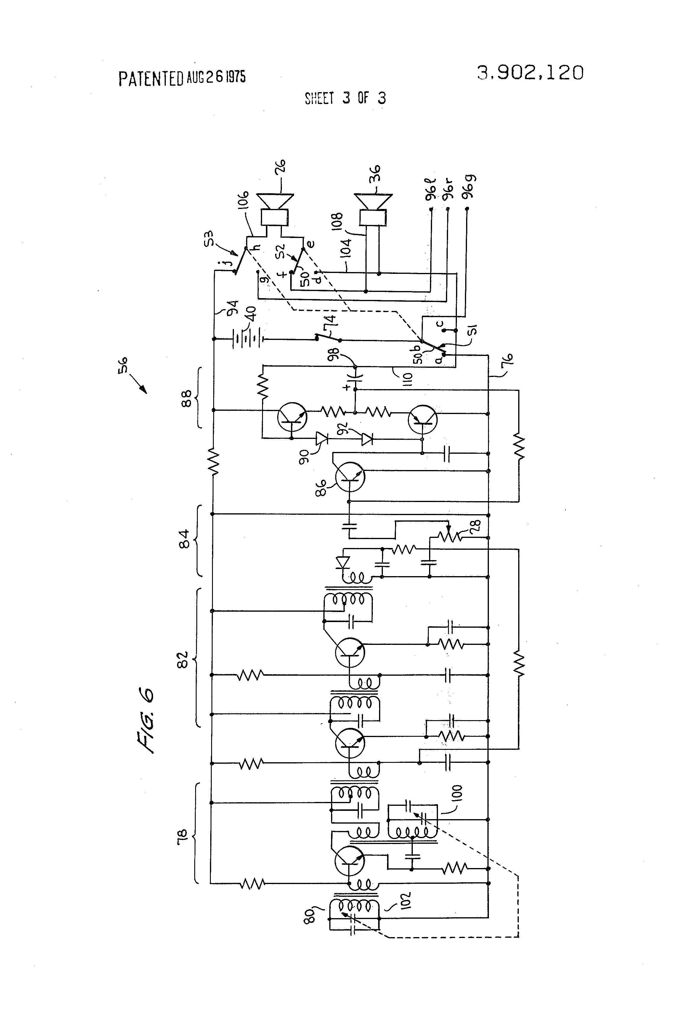 Patent Us3902120 Combination Radio Receiver And Stereo Headphones Advent Speaker Crossover Schematic Diagrams Drawing