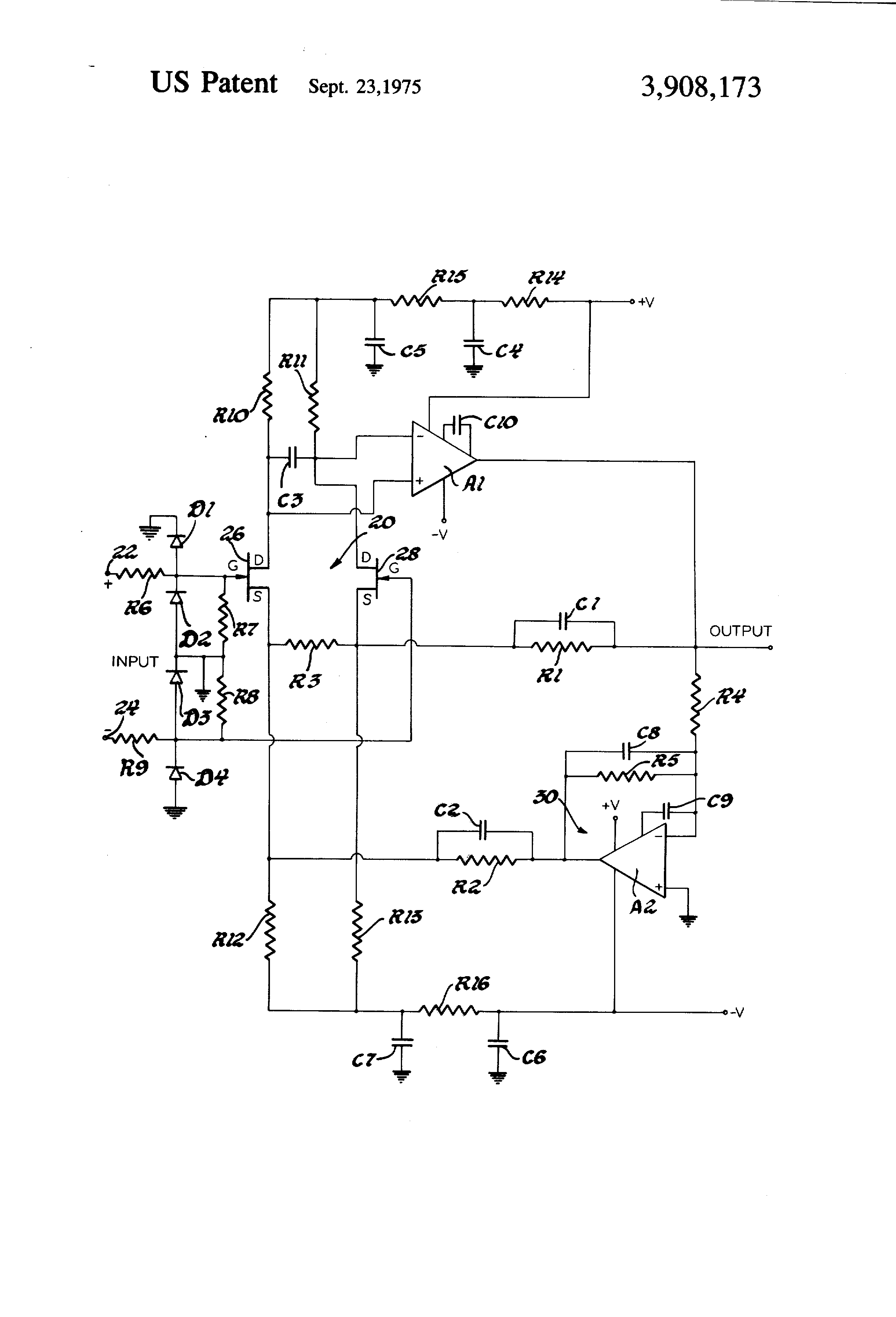 Patent Us3908173 Differential Amplifying System With Forced Charge Sensitive Amplifier Circuit Drawing