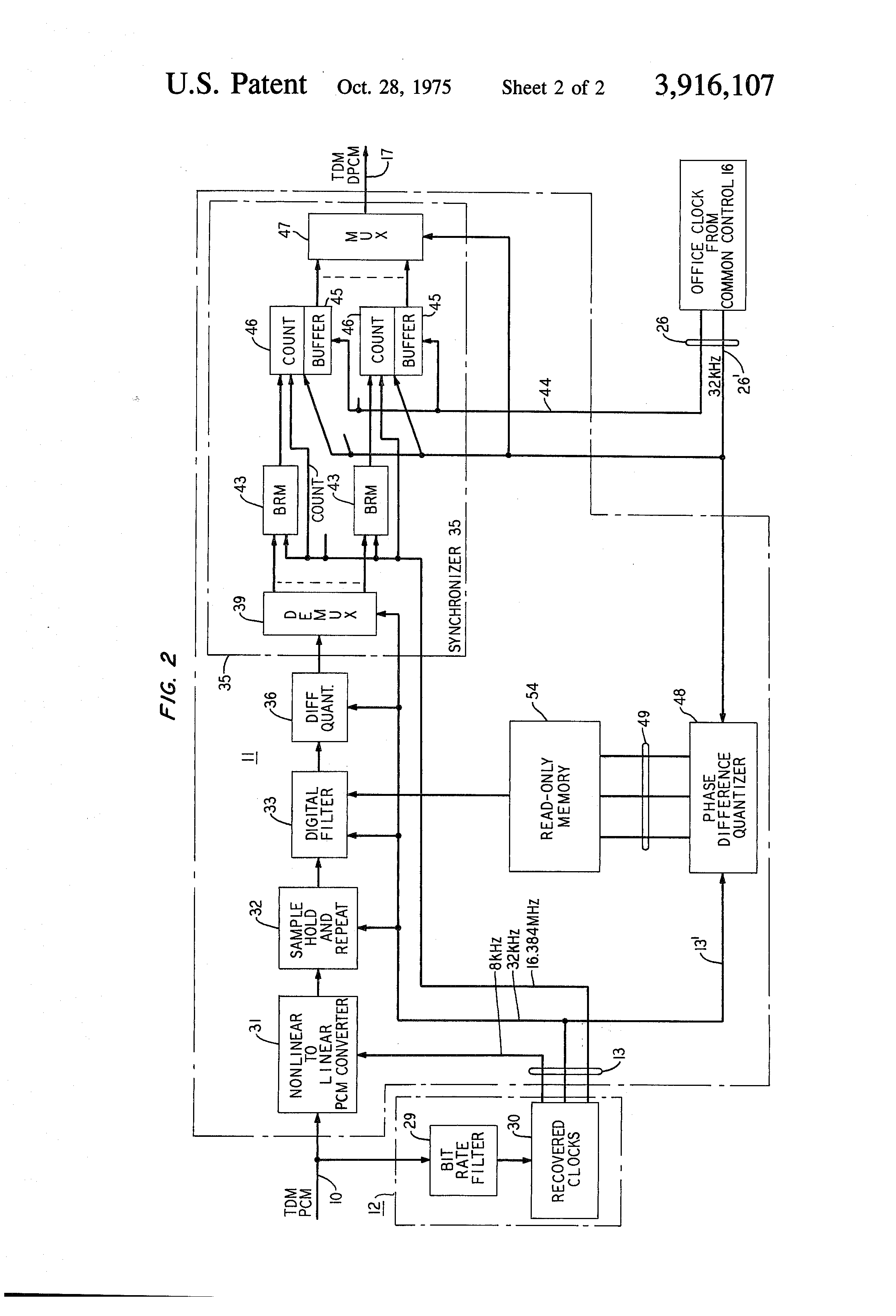 Patent Us3916107 Digital System For Reclocking Pulse Code Sample And Hold Drawing