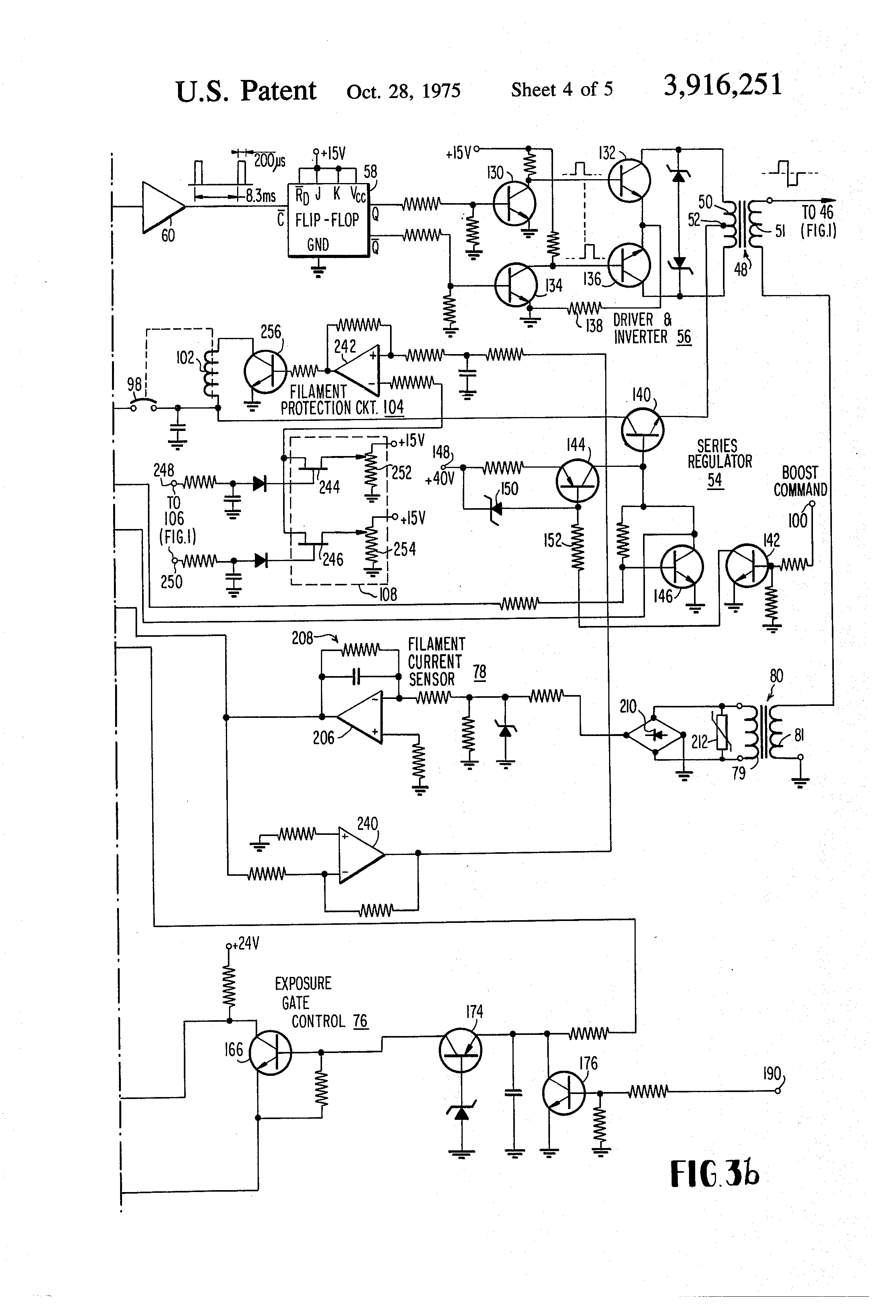 Patent Us3916251 Filament Current Regulator For Rotating Anode X Power Supply Regulated Schematic On Dc Tube Drawing