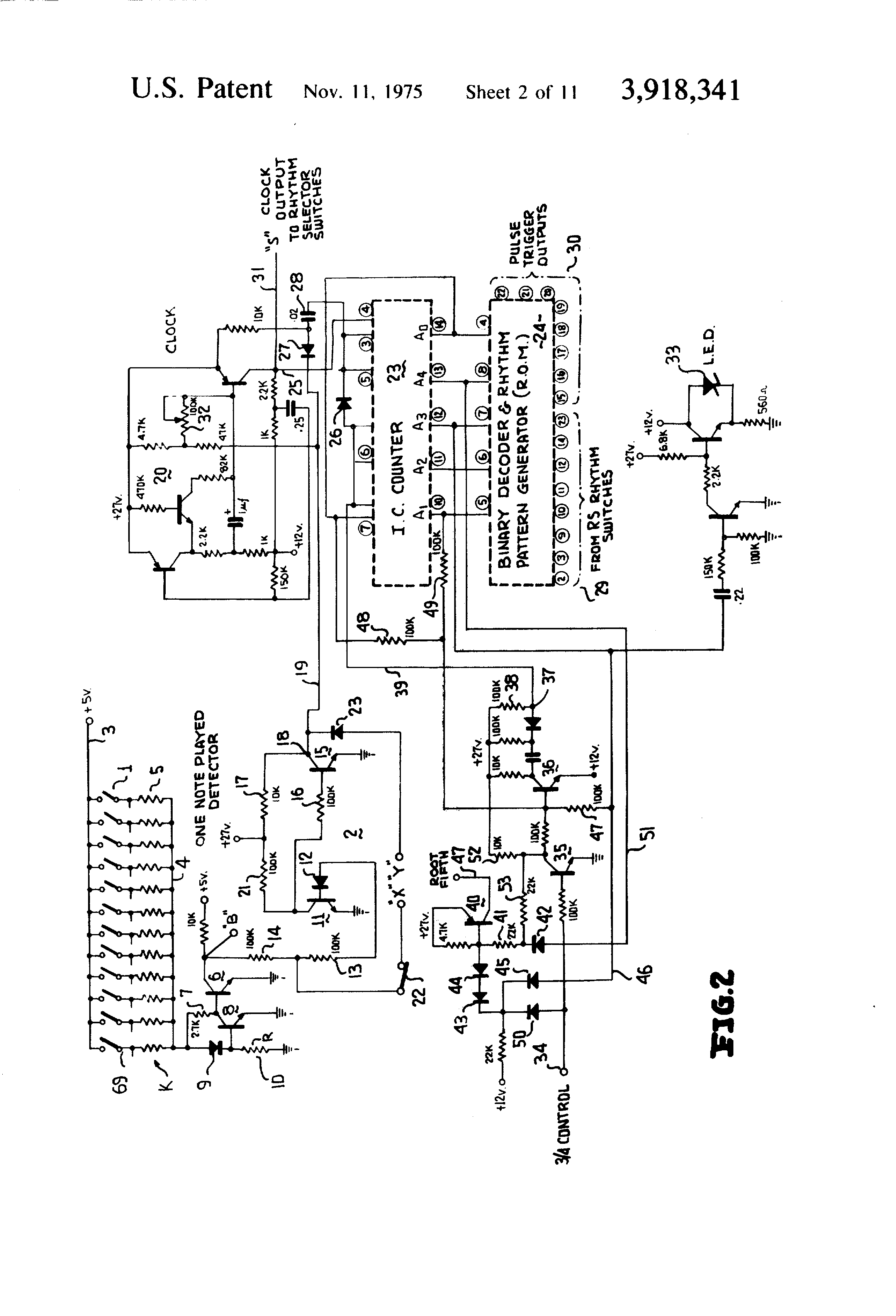 Patent us3918341 automatic chord and rhythm system for patent drawing hexwebz Images