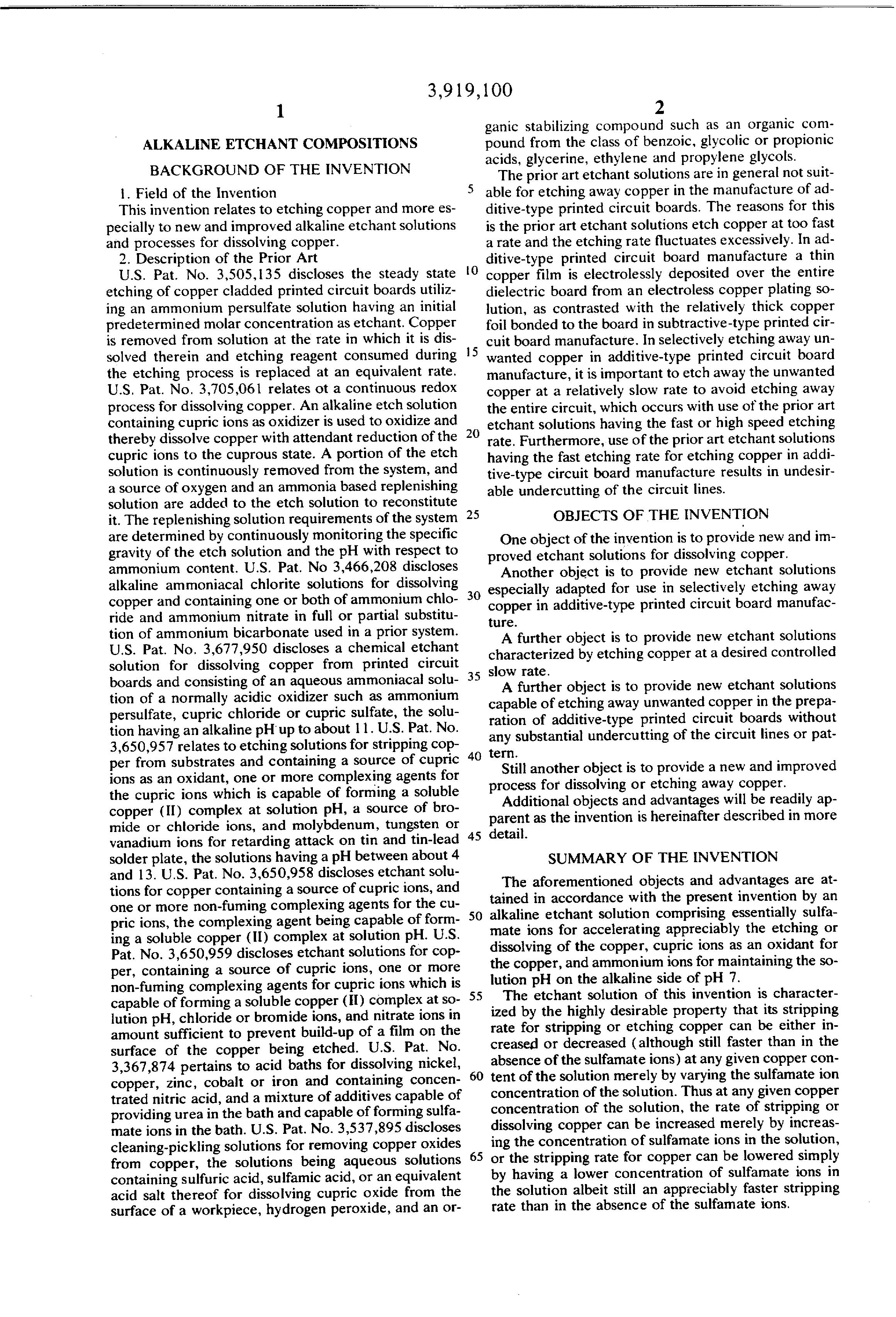 Patent US3919100 - Alkaline etchant compositions - Google Patents