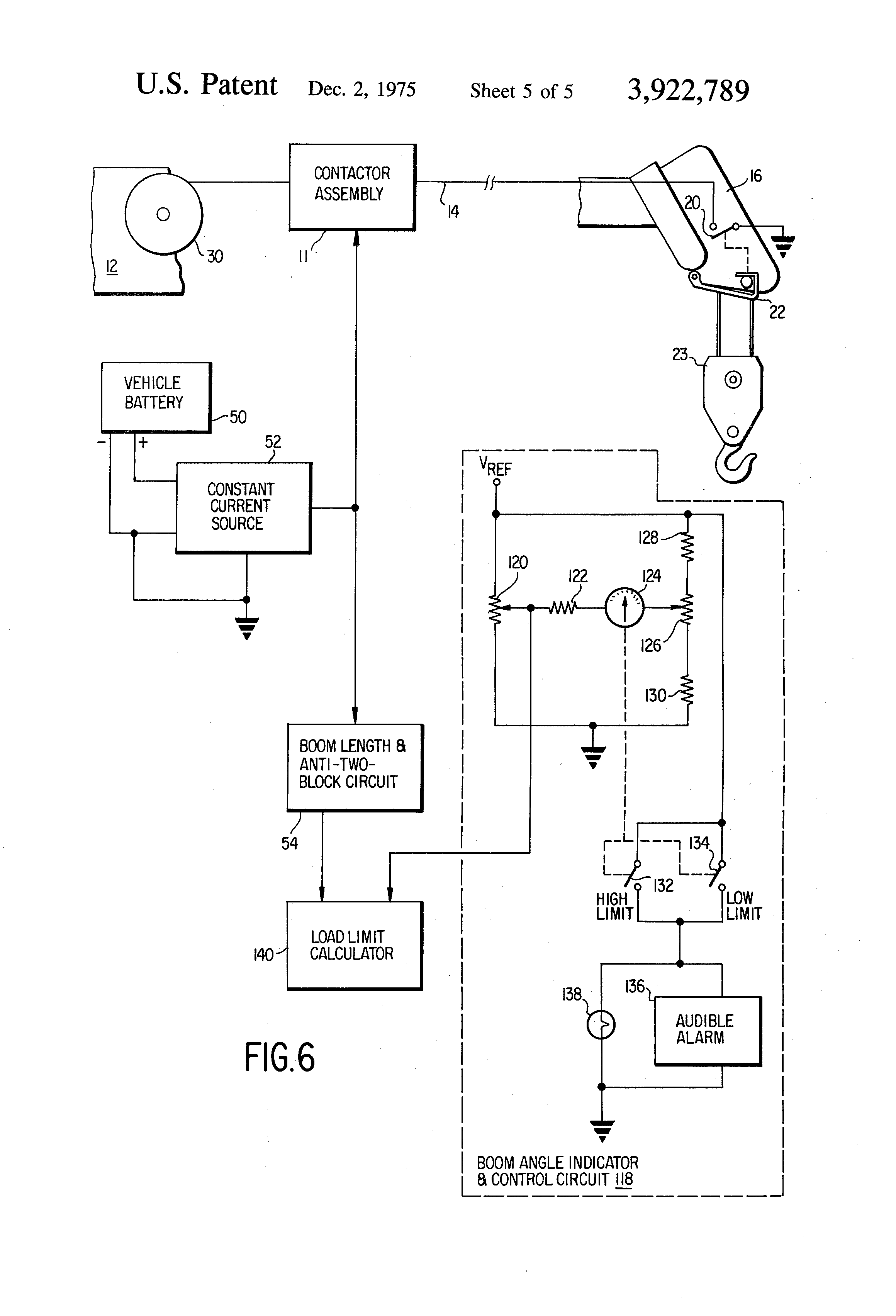 patent us3922789 boom length sensing system two block patent drawing