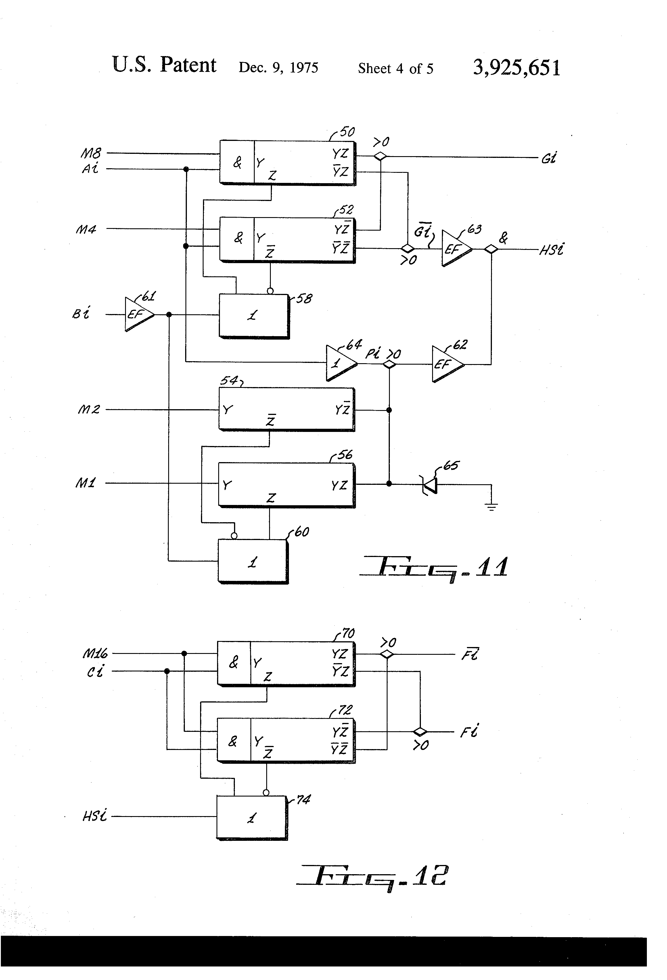 patent us3925651 current mode arithmetic logic array patents Half Adder Subtractor patent drawing