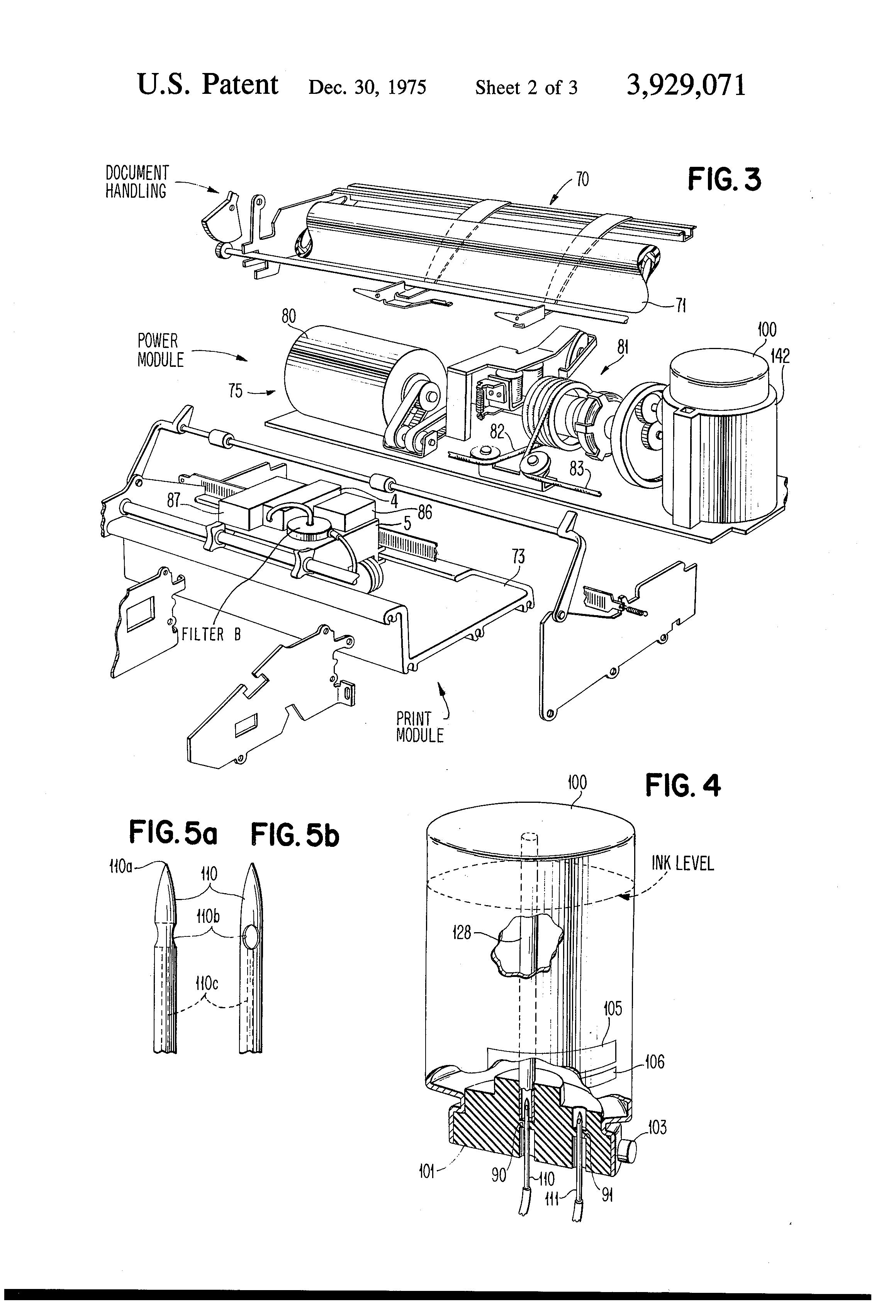 patent us3929071 - ink recirculating system for ink jet printing apparatus