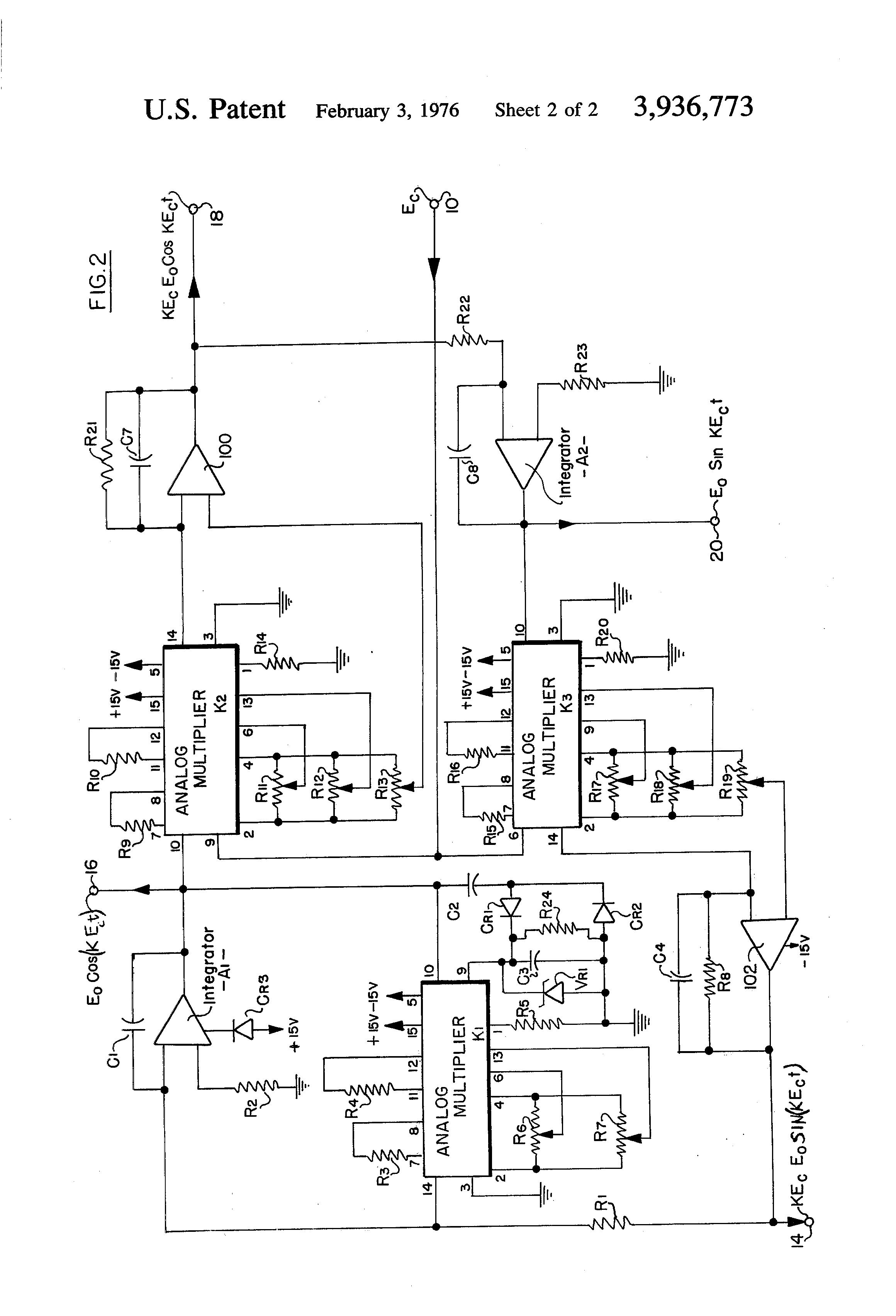 Patent US3936773 - Two-phase quadrature voltage-controlled sine-wave