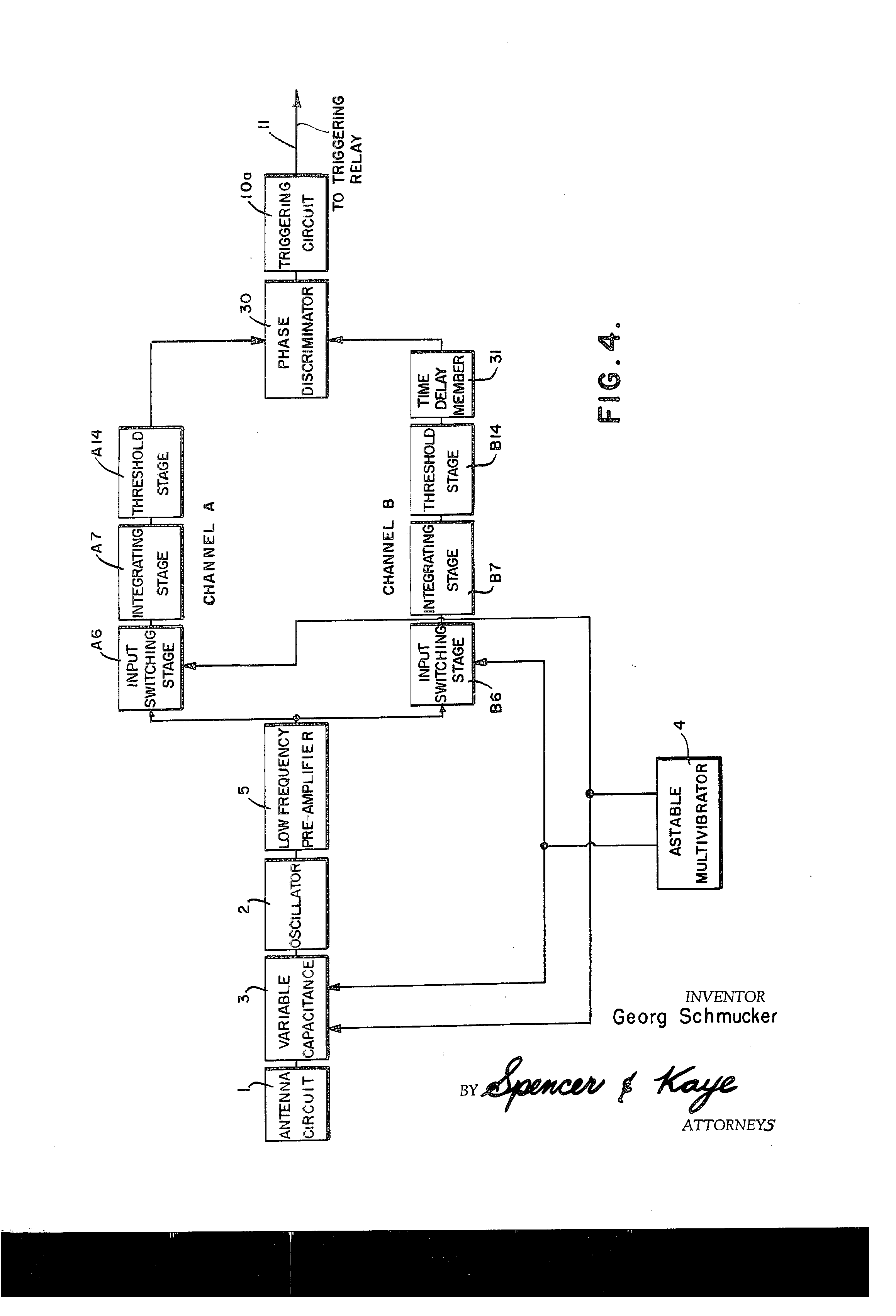 Patent Us3945008 Electronic Proximity Fuse Having Multiple Doppler Lm741hc Operational Amplifier As An Astable Oscillator Circuit Output Drawing