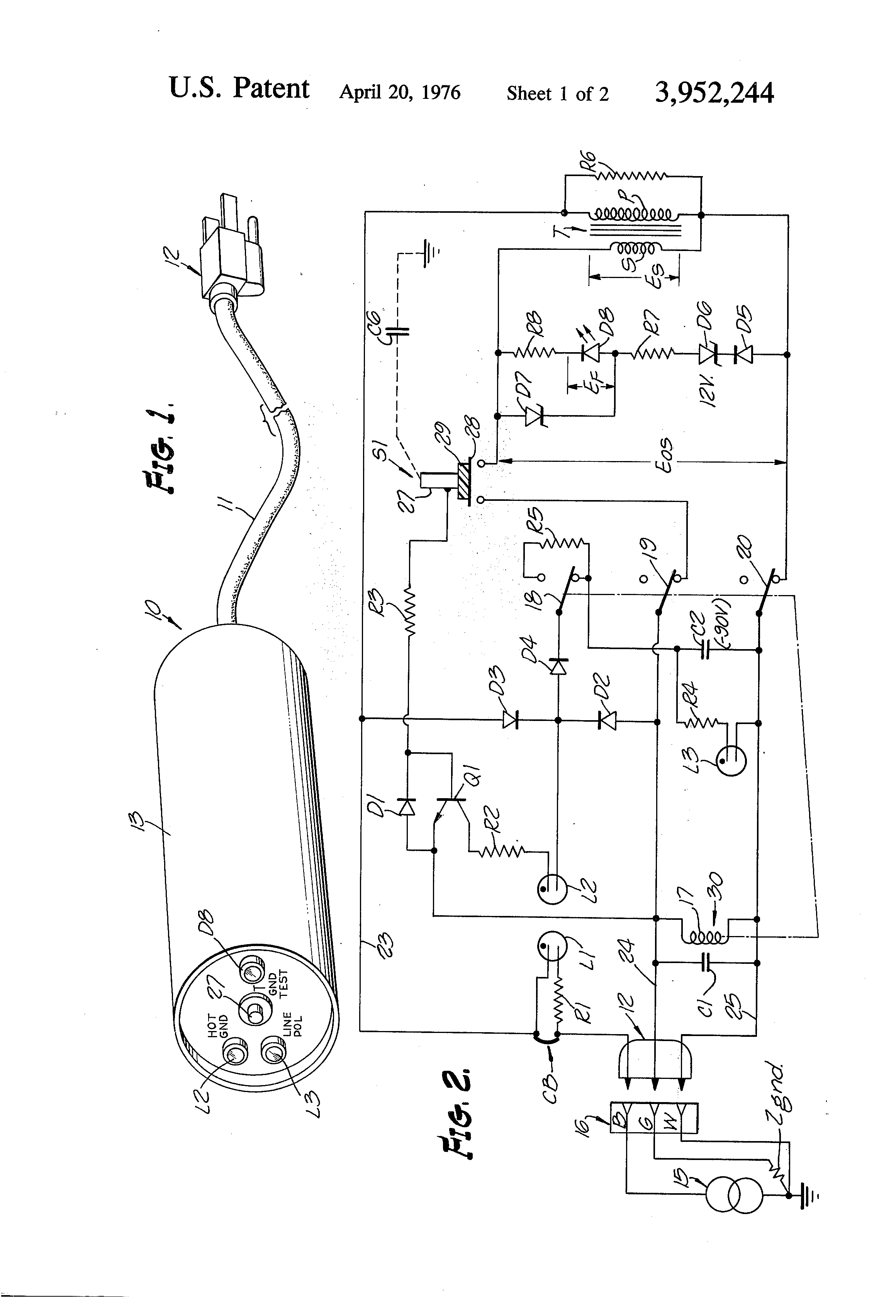 patent us3952244 - tester for three wire grounding electrical outlet