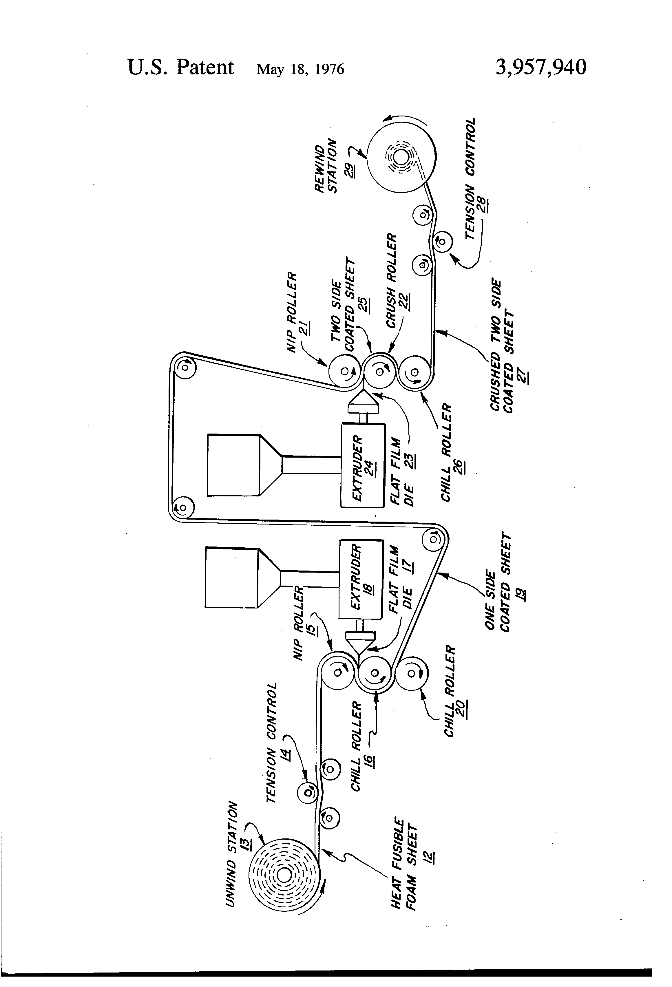 Patent US3957940 - Wrinkle free extrusion coating of heat