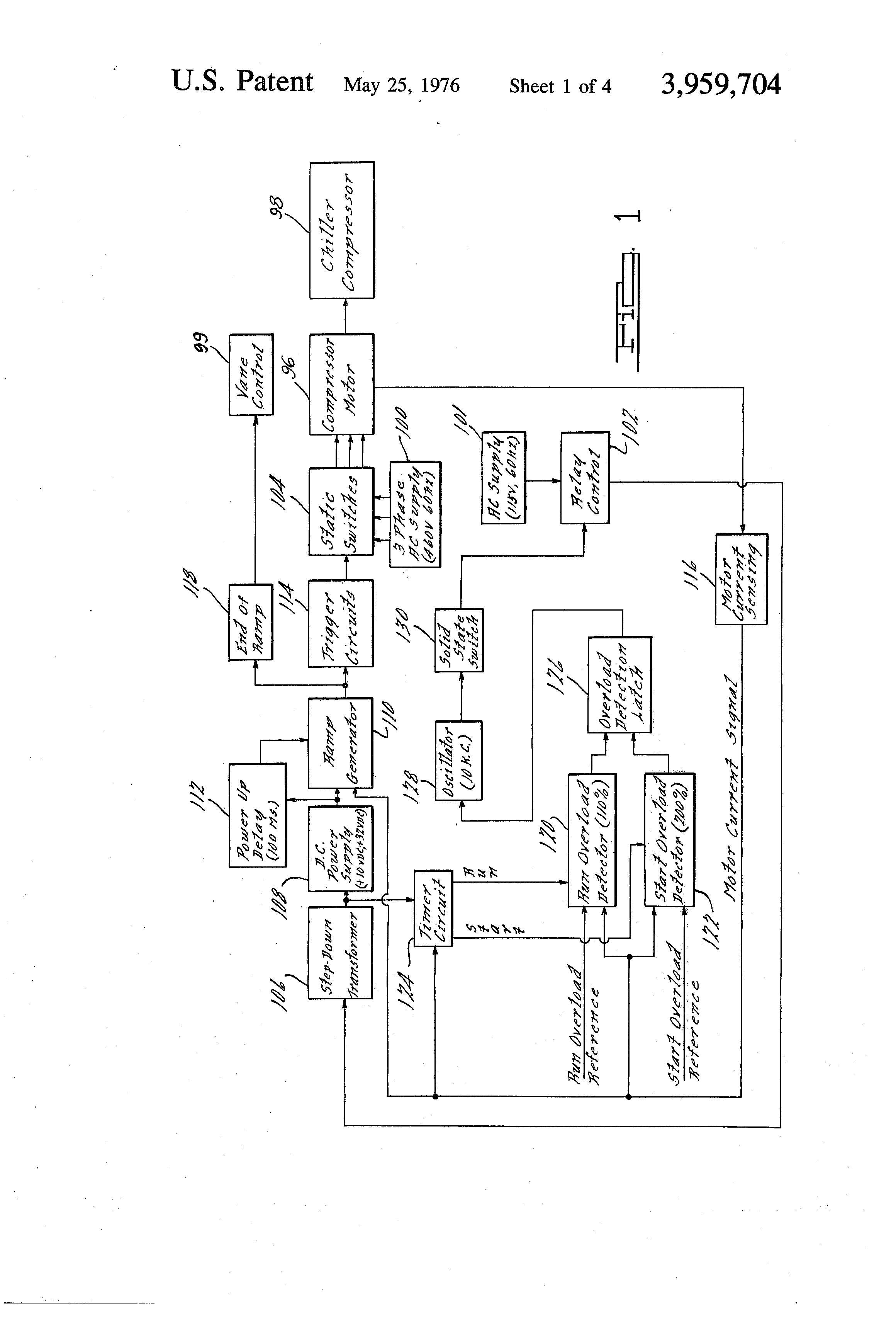 Patente Us3959704 Solid State Motor Starter And Overload Protector Schematic Diagram Relaycontrol Controlcircuit Circuit Patent Drawing