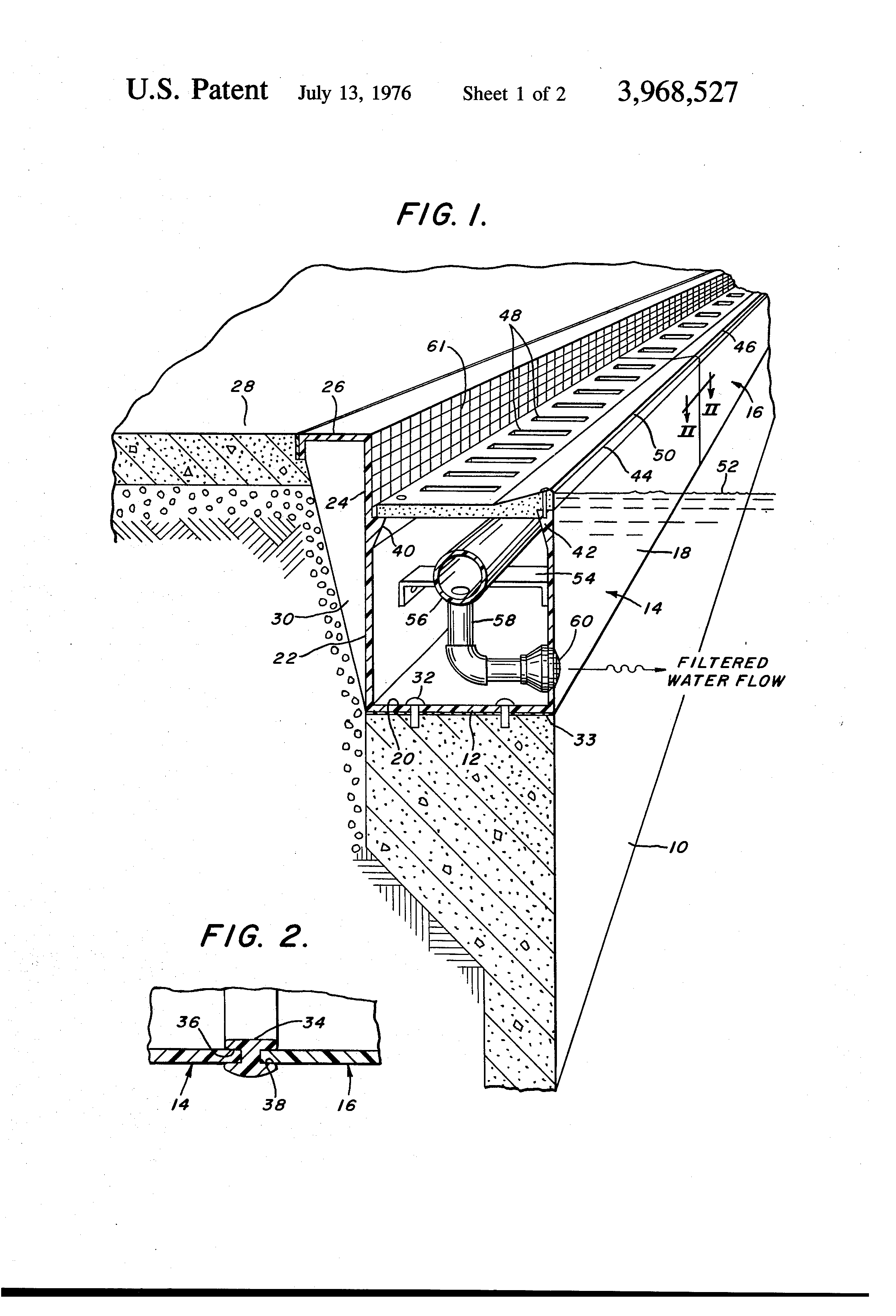 Patent Us3968527 Perimeter Overflow System For Swimming