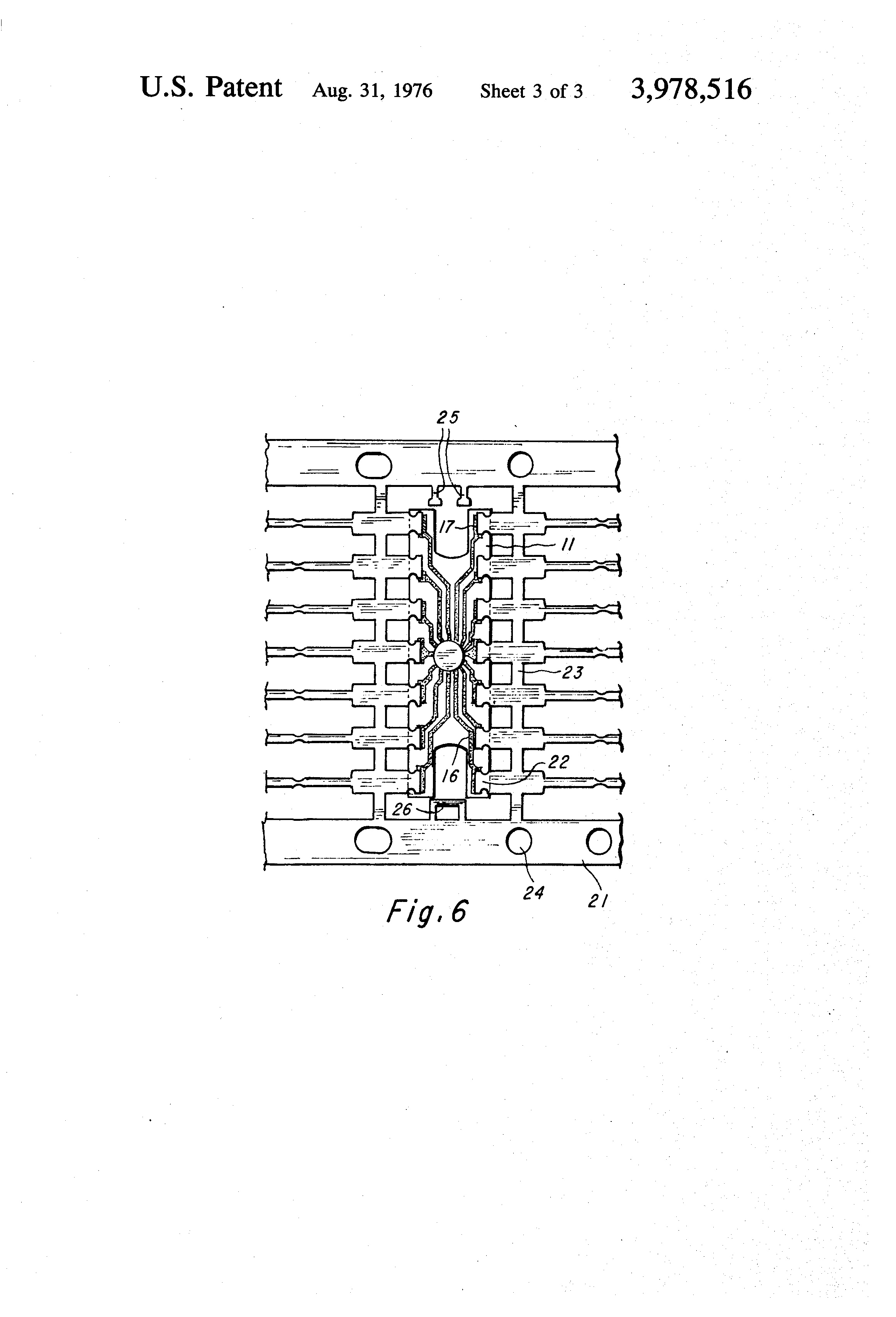 patent us3978516 - lead frame assembly for a packaged semiconductor microcircuit