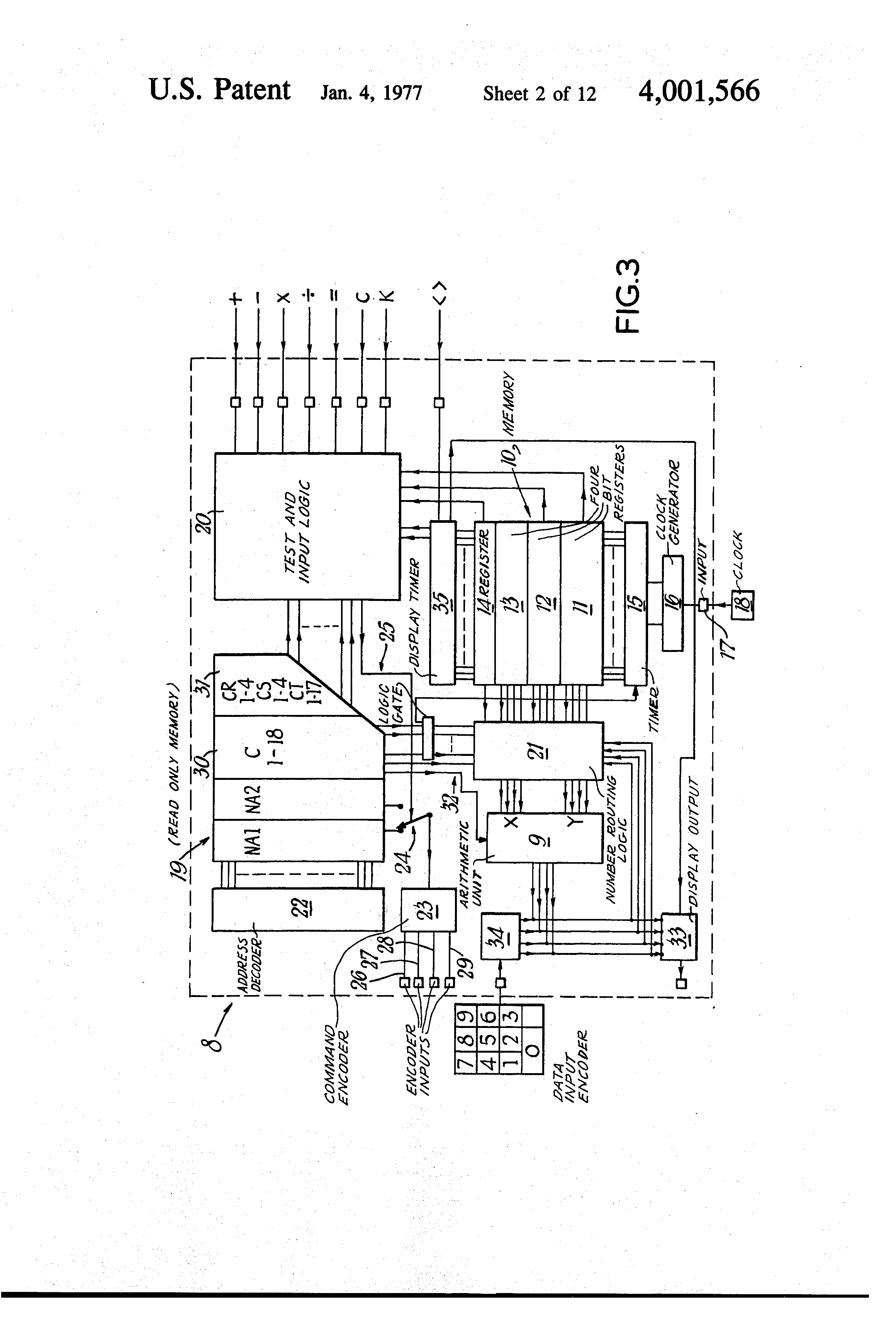 patent us4001566 - floating point calculator with ram shift register