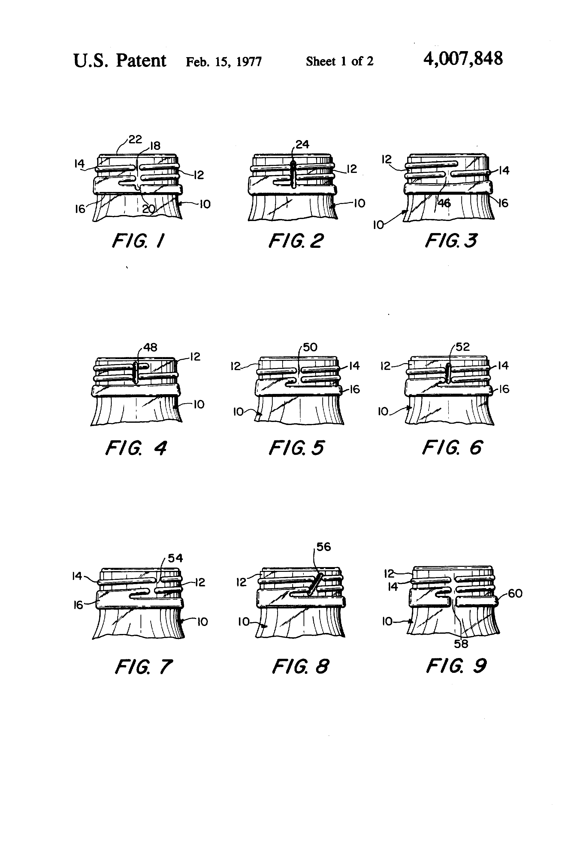Patent Us4007848 Anti Missiling Bottle Structure