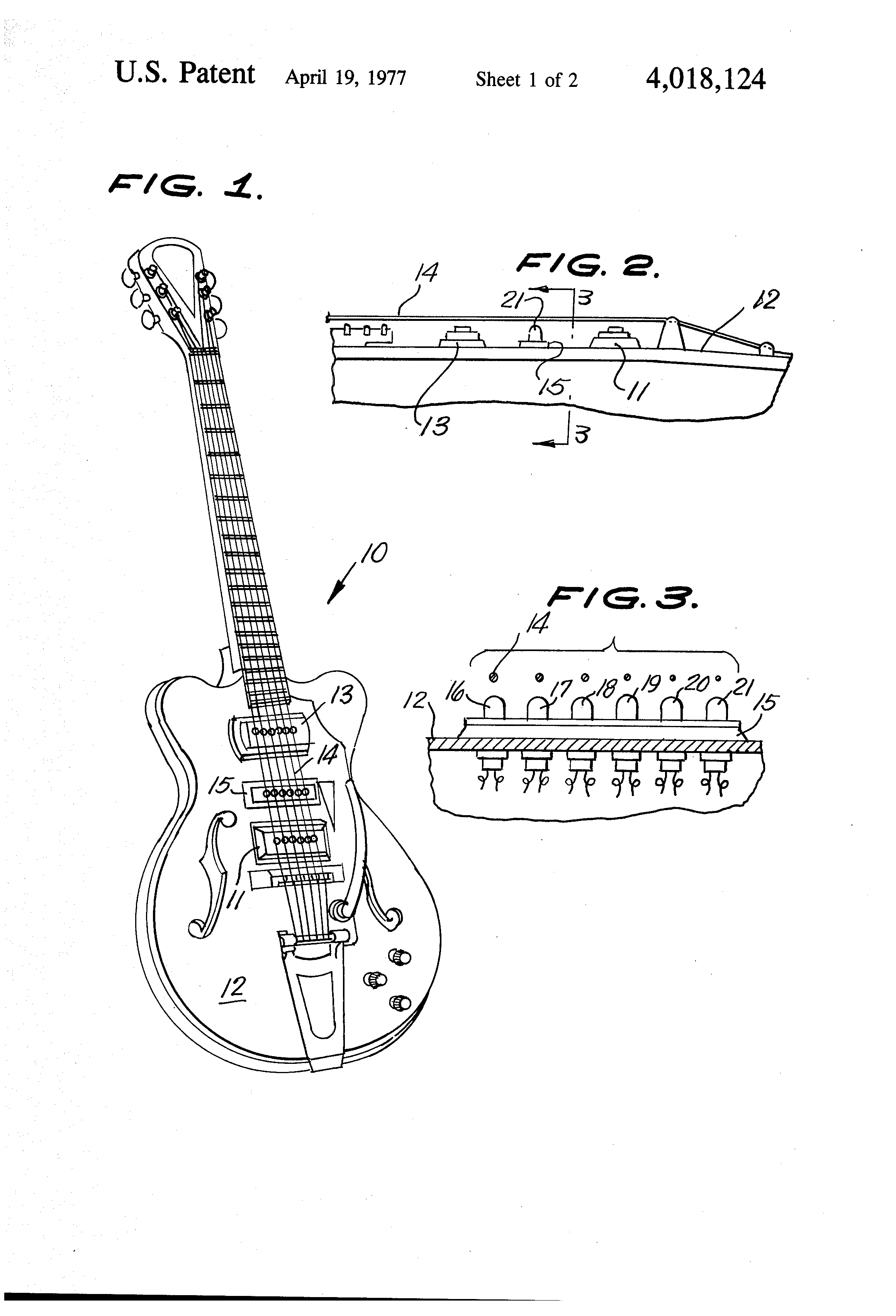 patent us4018124 automatic guitar tuner for electric guitars google patents. Black Bedroom Furniture Sets. Home Design Ideas