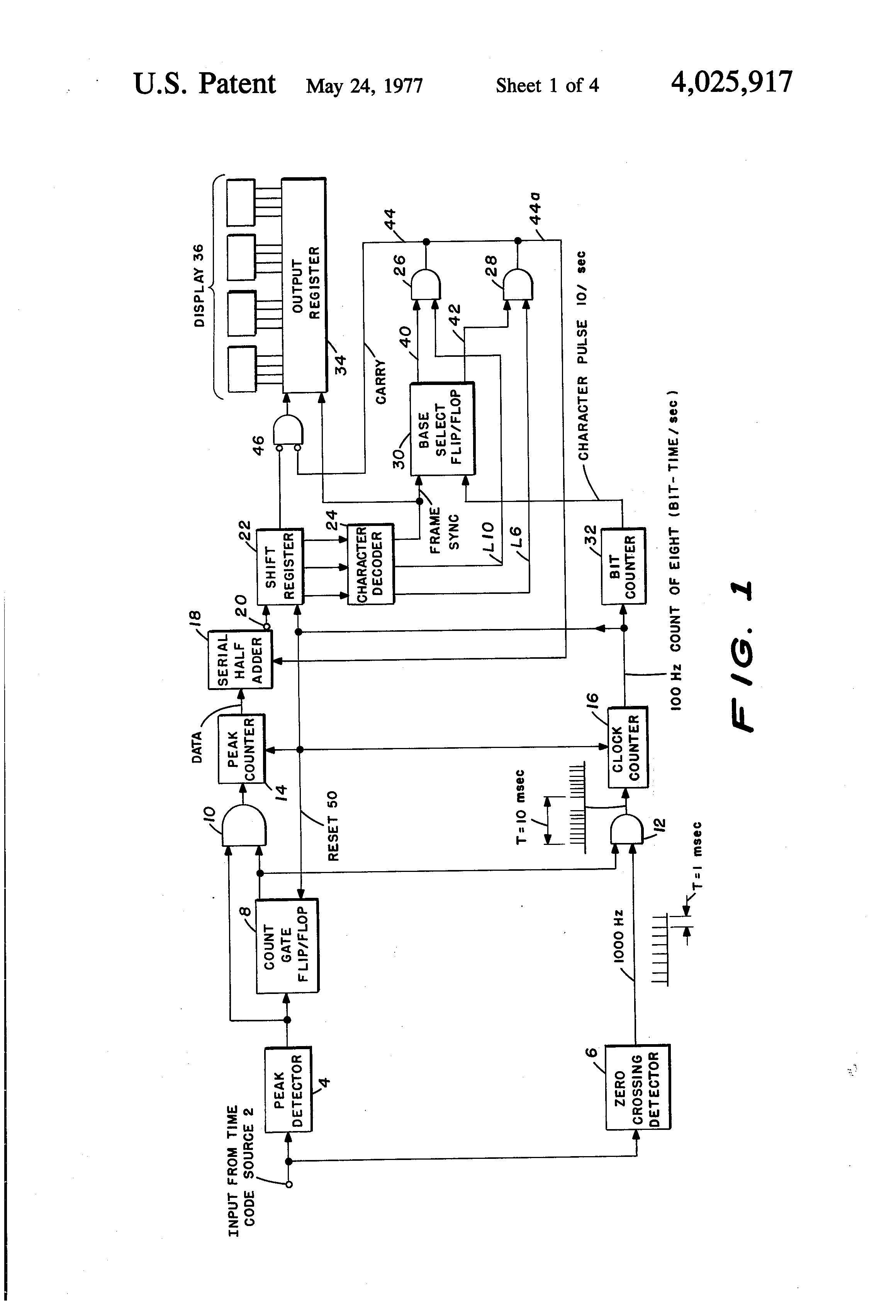 Patent US4025917 - Simplified time code reader with digital