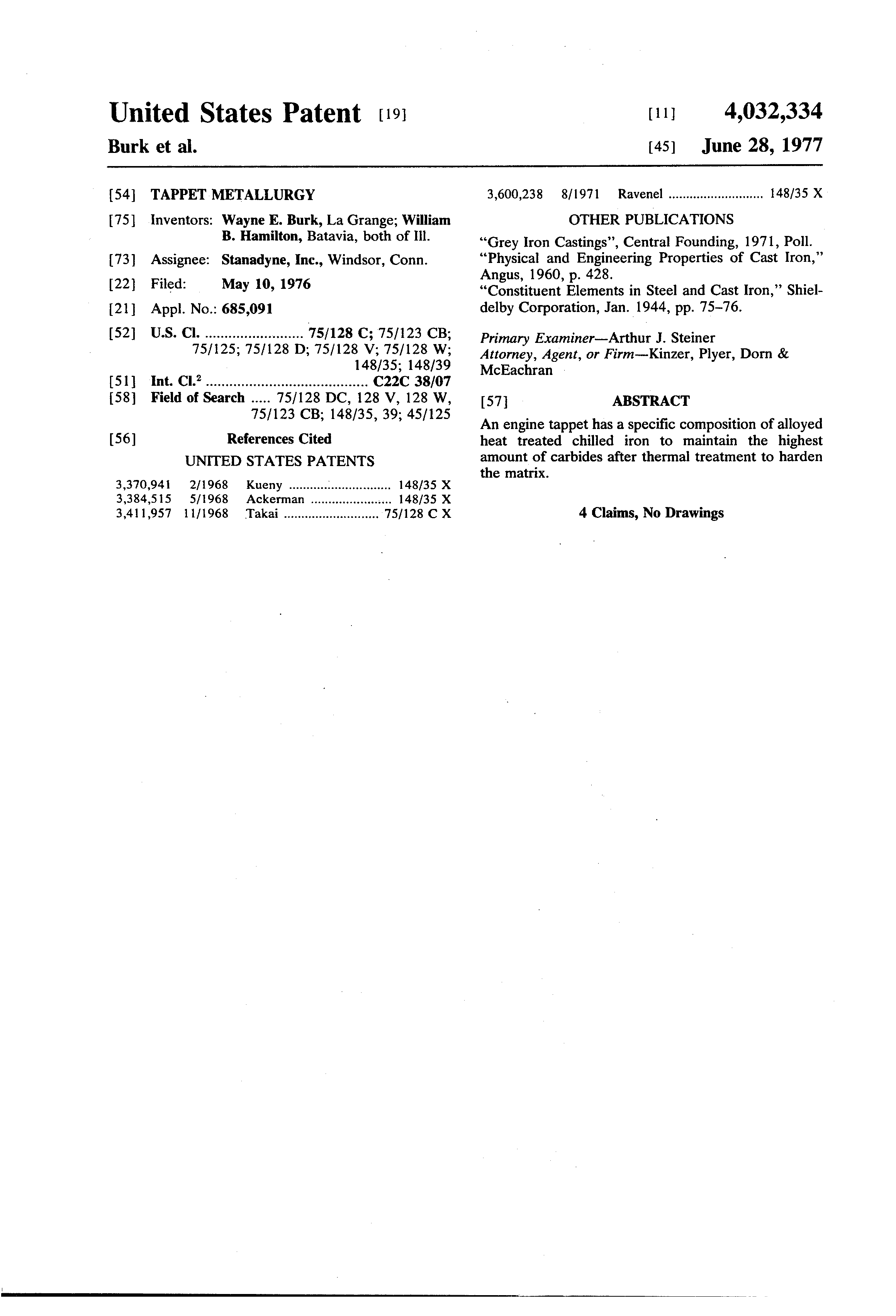 Patent US4032334 - Tappet metallurgy - Google Patents
