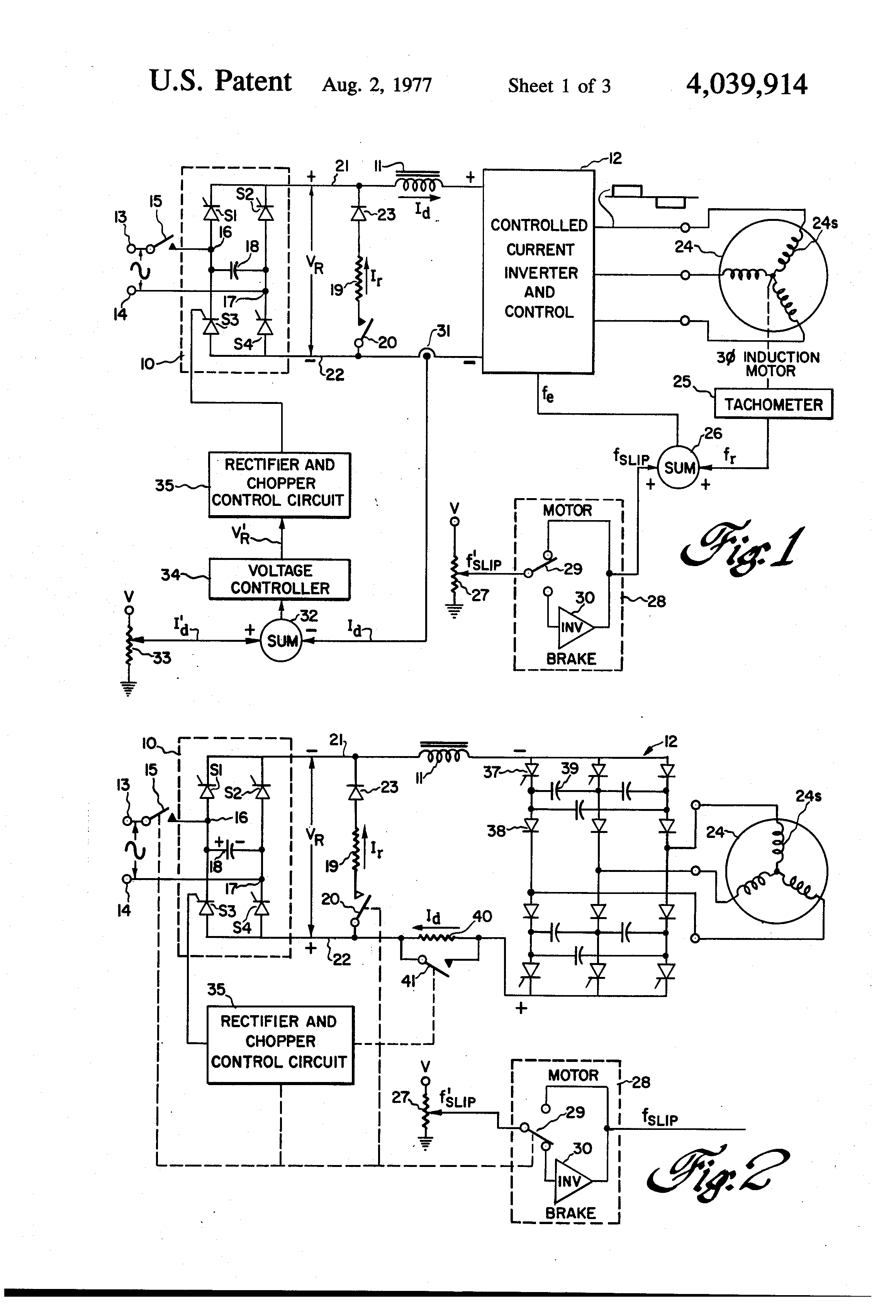 Patent us4039914 dynamic braking in controlled current for Dynamic braking ac motors