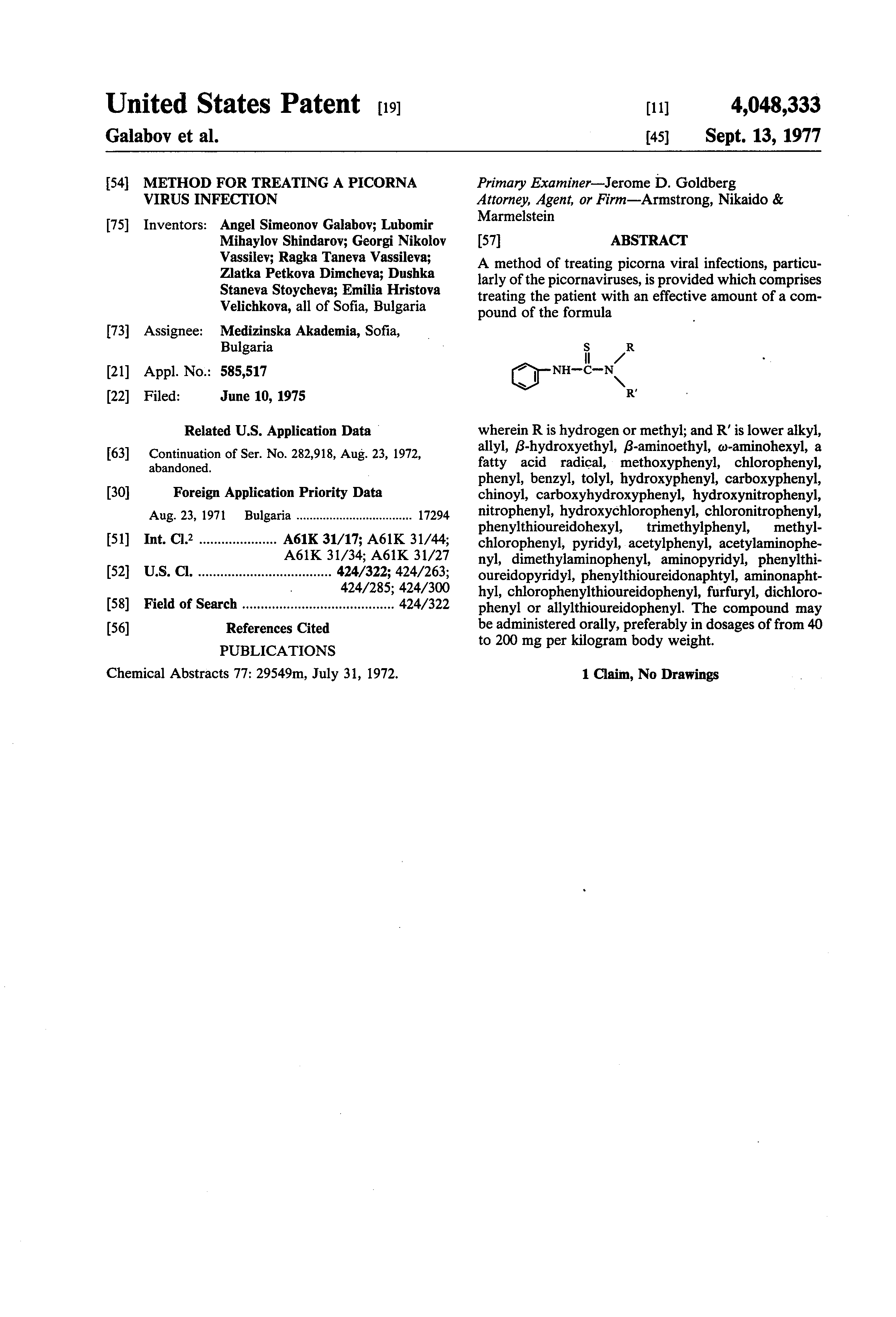 Patent US4048333 - Method for treating a picorna virus infection