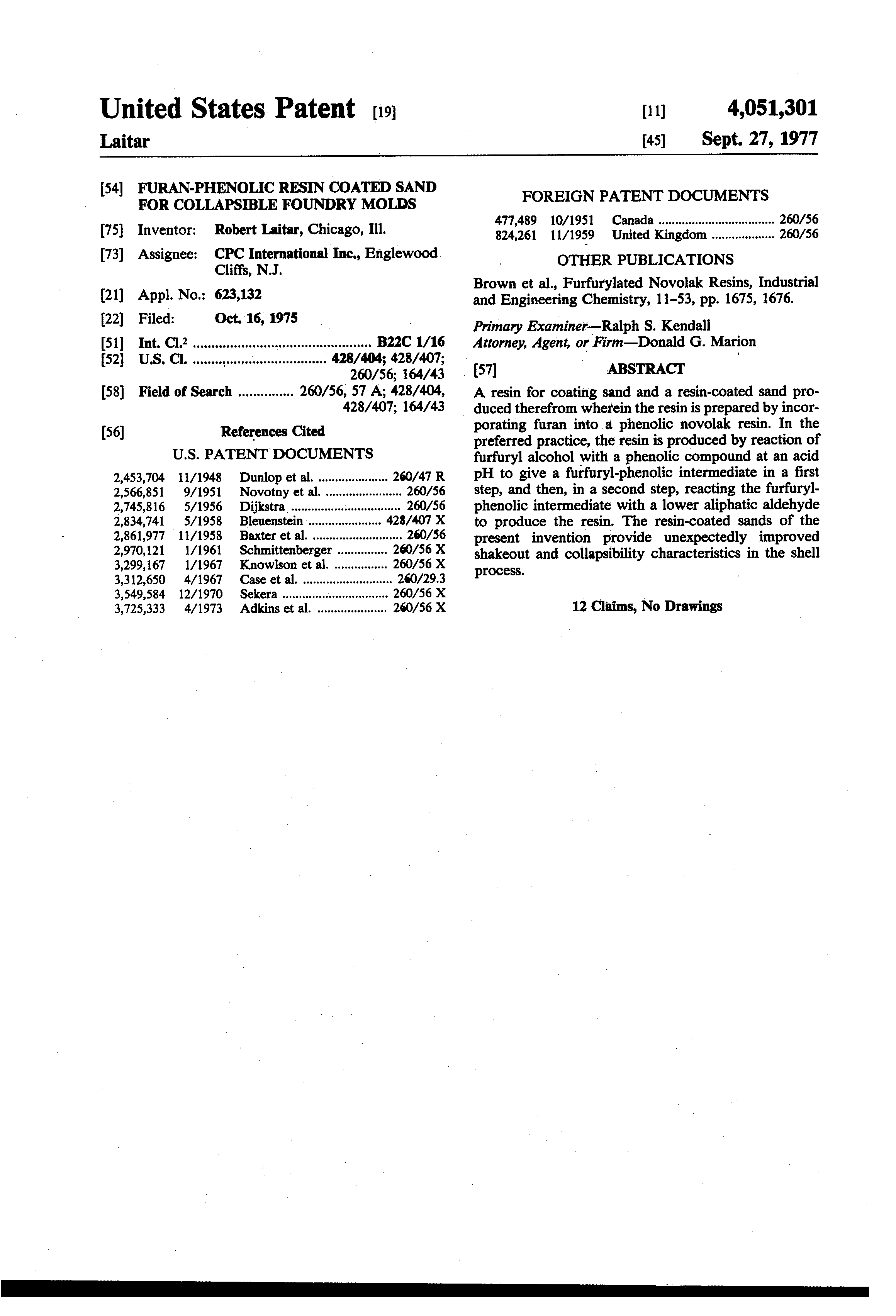 Patent US4051301 - Furan-phenolic resin coated sand for