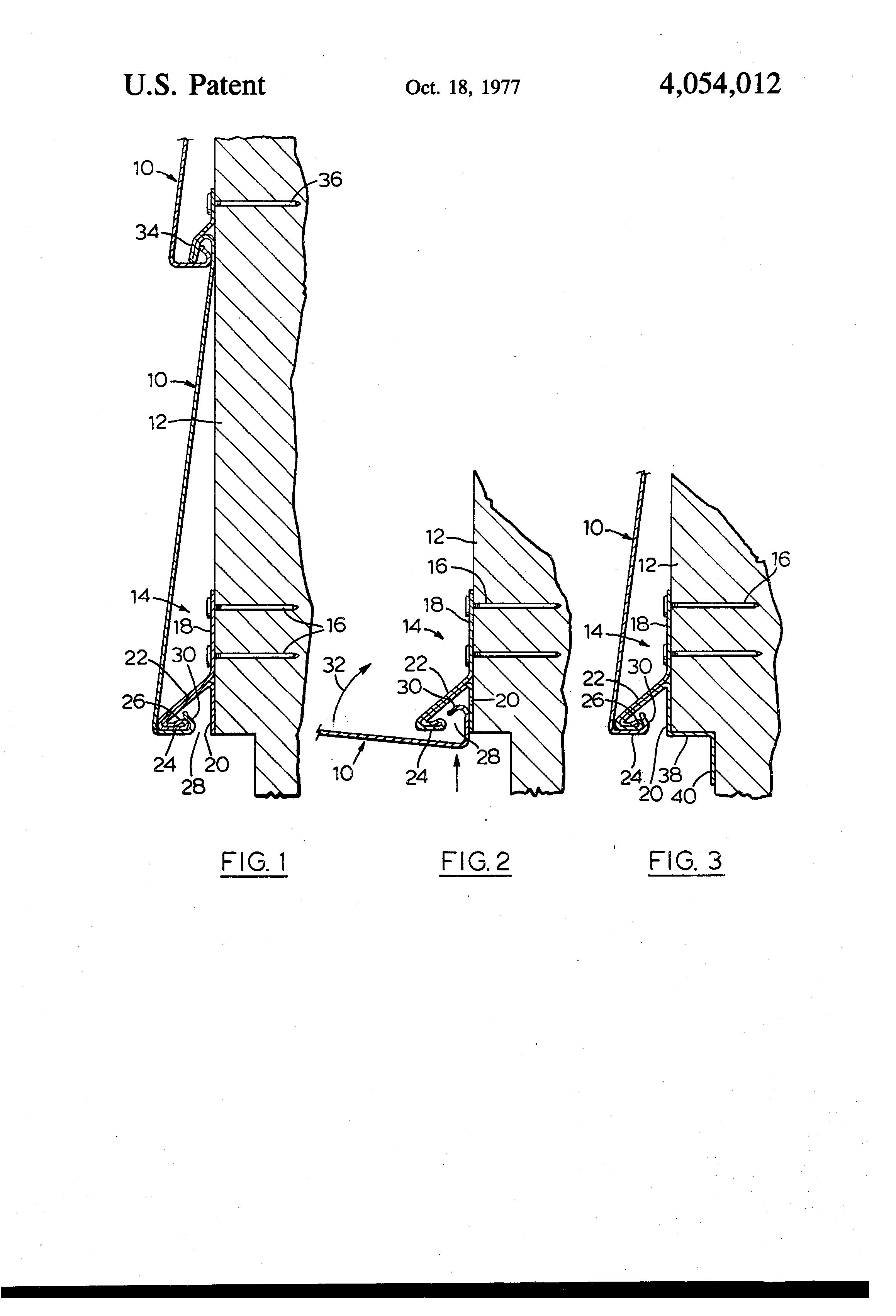 Patent Us4054012 Starter Strip For Metal Siding Google
