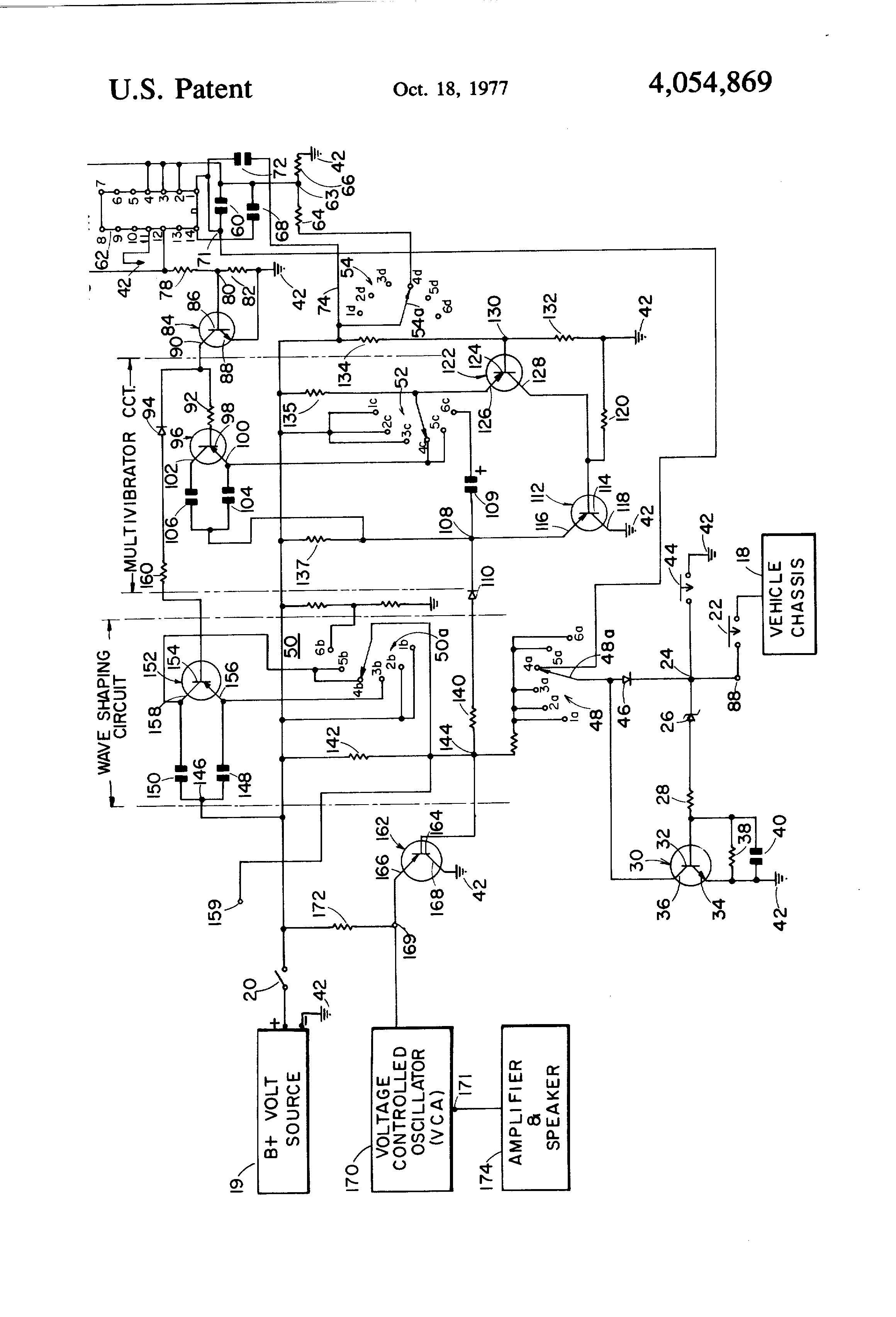 patent us4054869 - signal switching circuit for multiple sound siren system