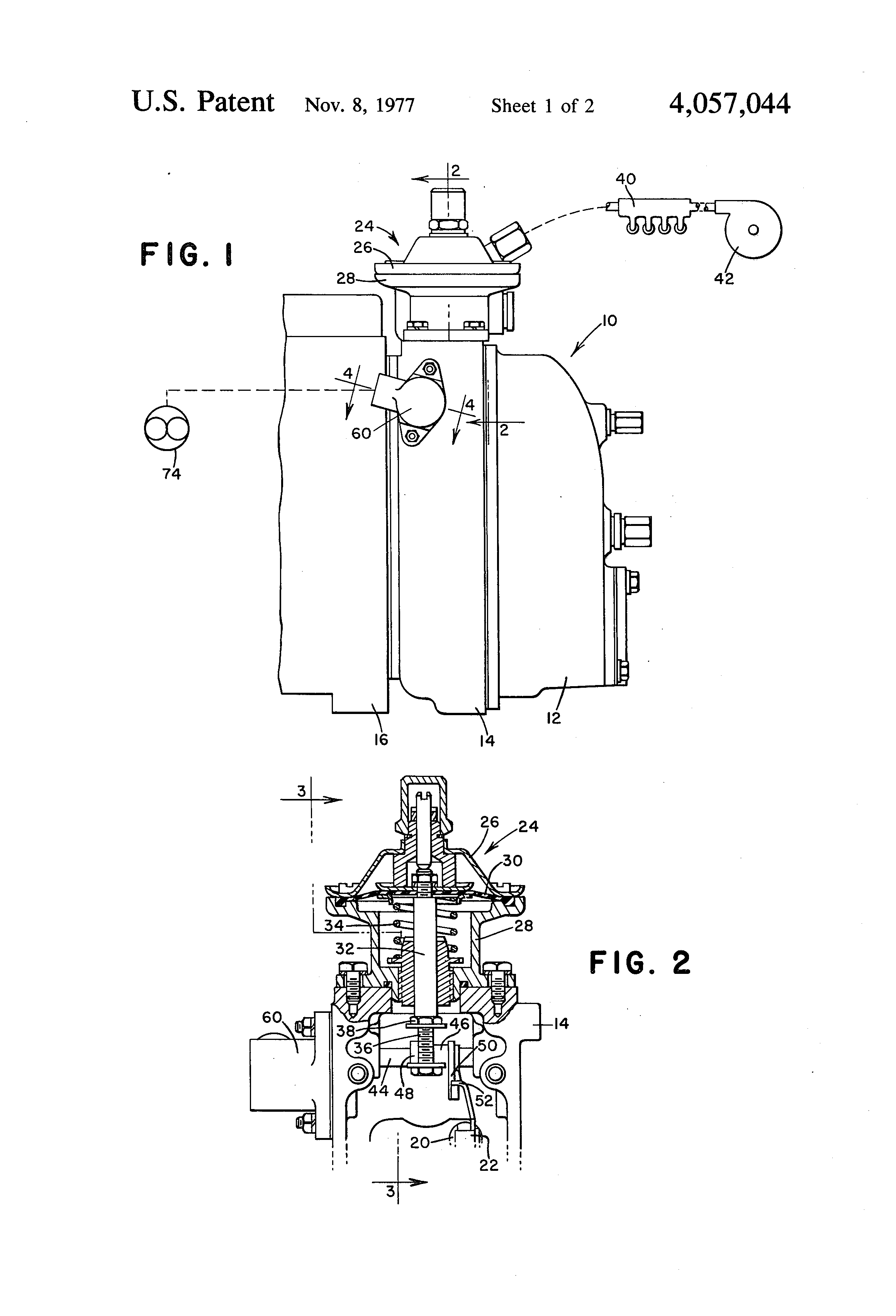 Patent US4057044 - Hydraulic aneroid control and fluid flow