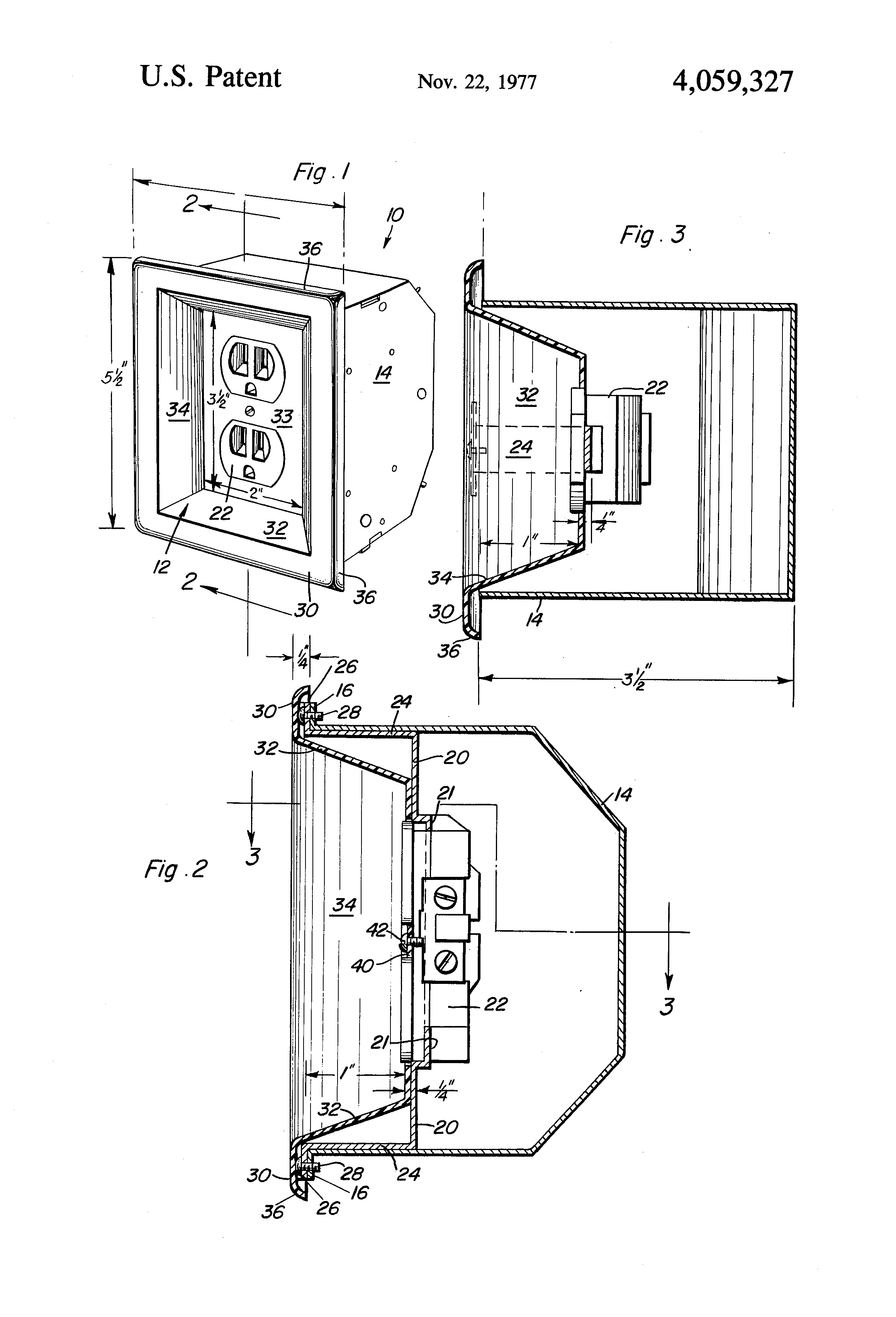 patent us4059327 - recessed electrical outlet