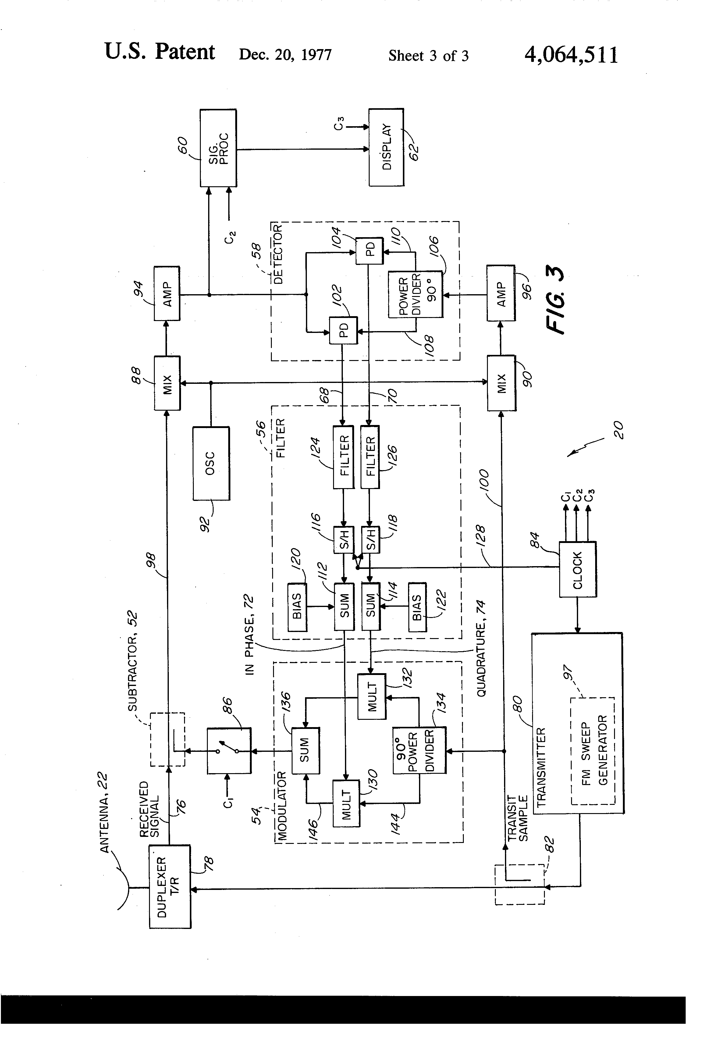 patent us4064511 clutter subtraction system patents PWM Circuit patent drawing