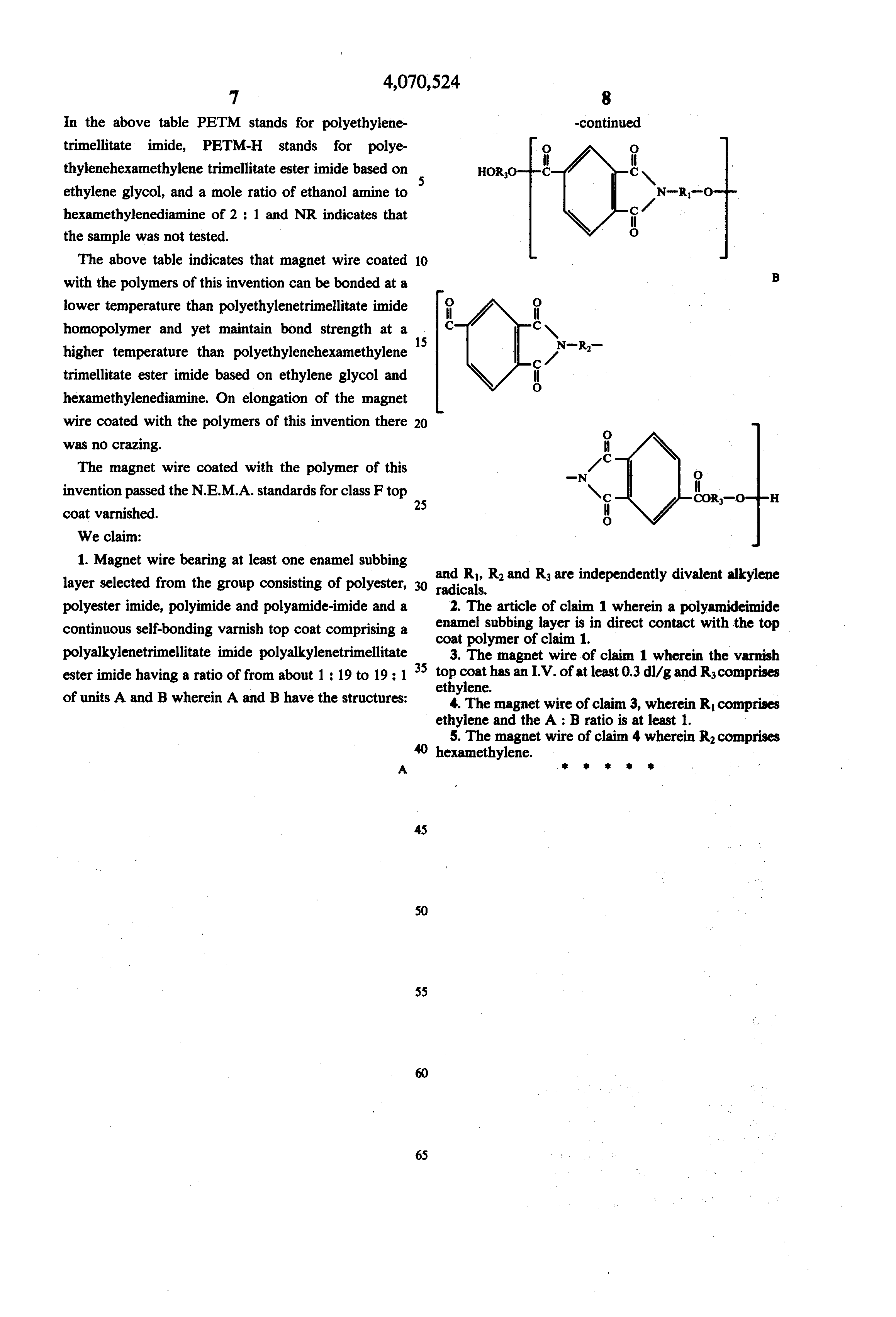 Patent US4070524 - Self-bonding varnish for magnetic wire comprising ...