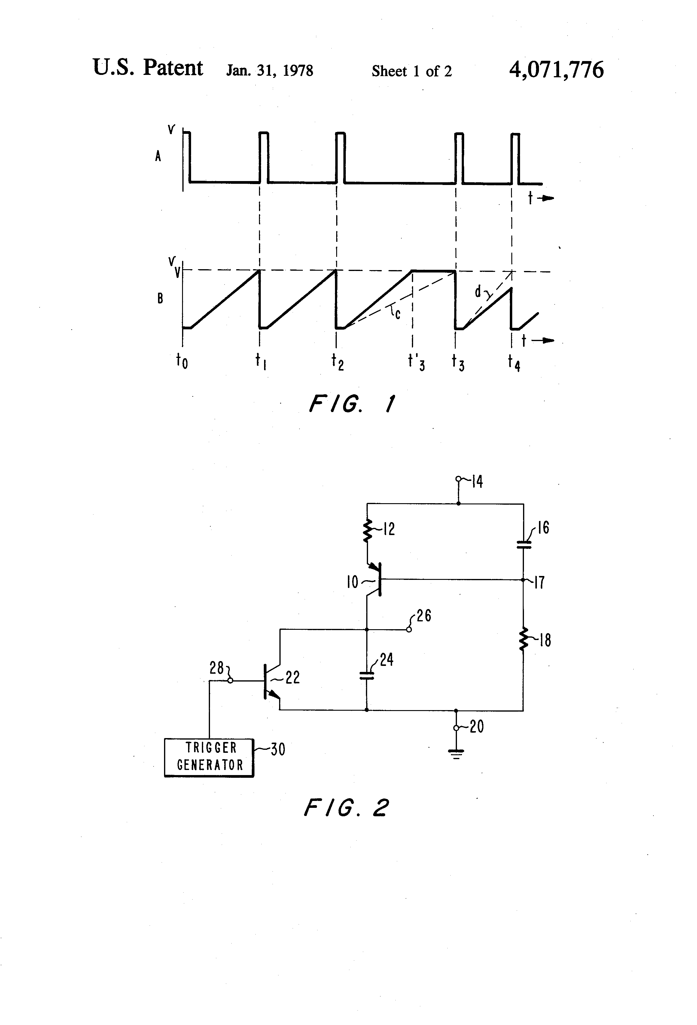 Brevet Us4071776 Sawtooth Voltage Generator For Constant Amplitude Transistors How Do I Keep My Current Source Patent Drawing