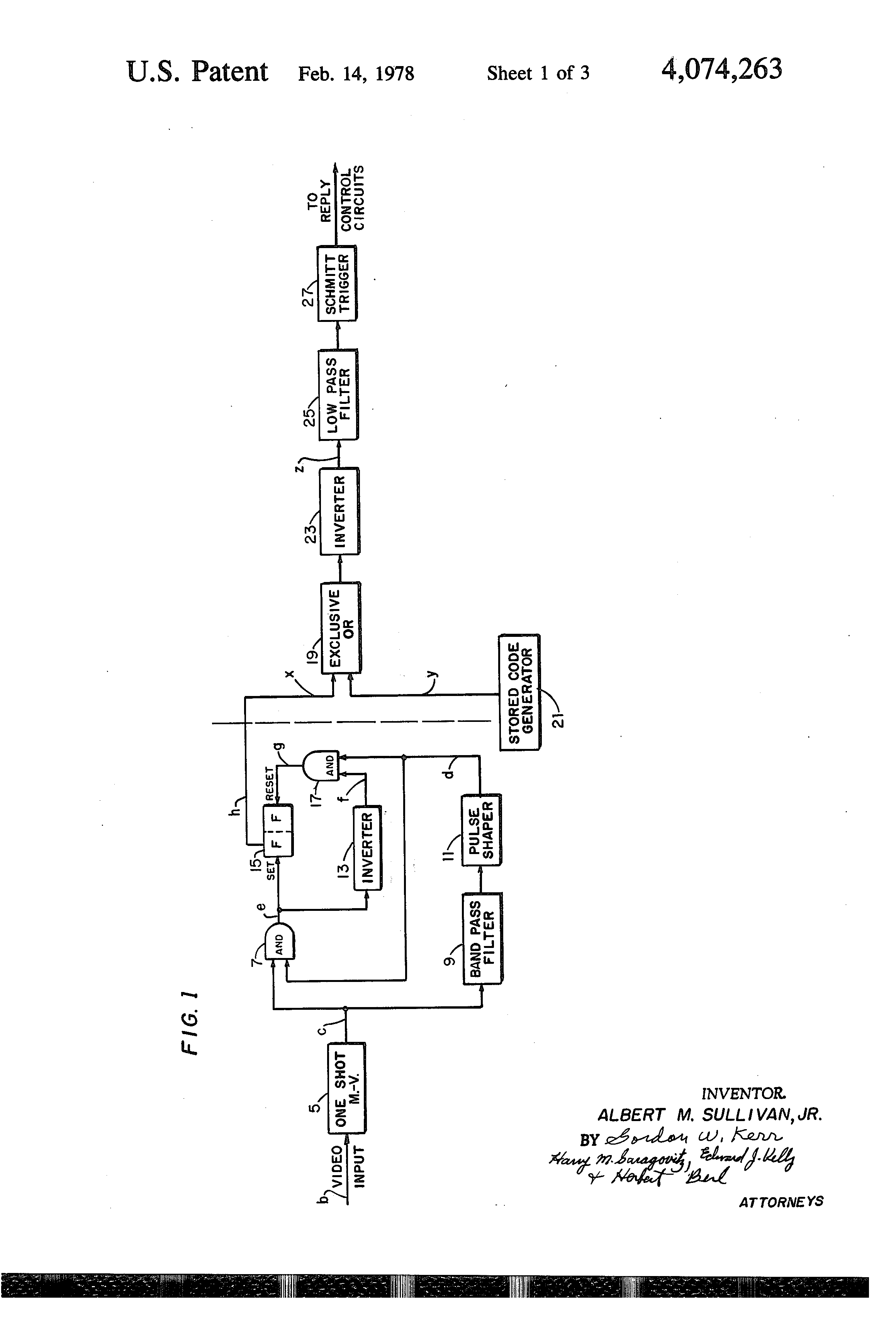 Patent Us4074263 Code Signal Processing Circuitry For Iff O2 Sensor Wiring Diagram Nissan Drawing