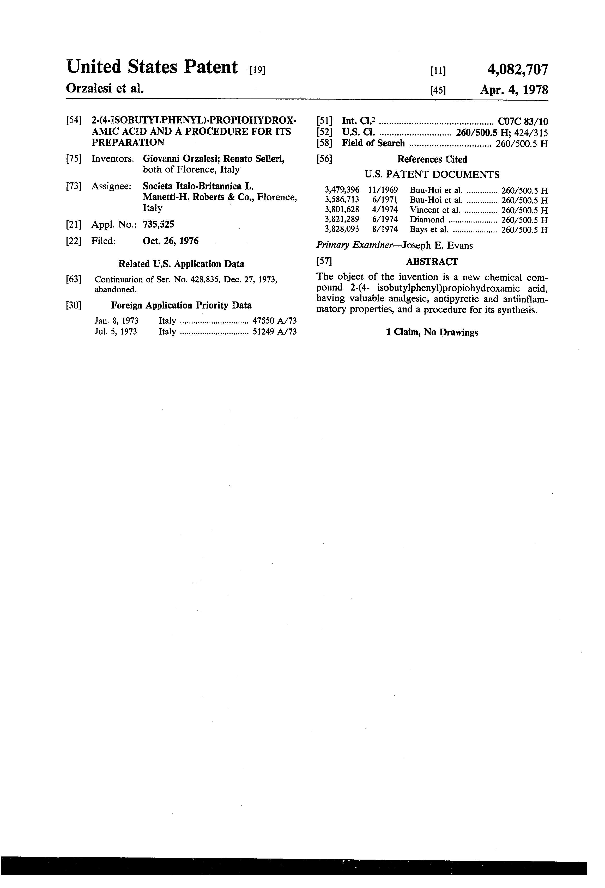 Brevet US4082707 - 2-(4-isobutylphenyl)-propiohydroxamic