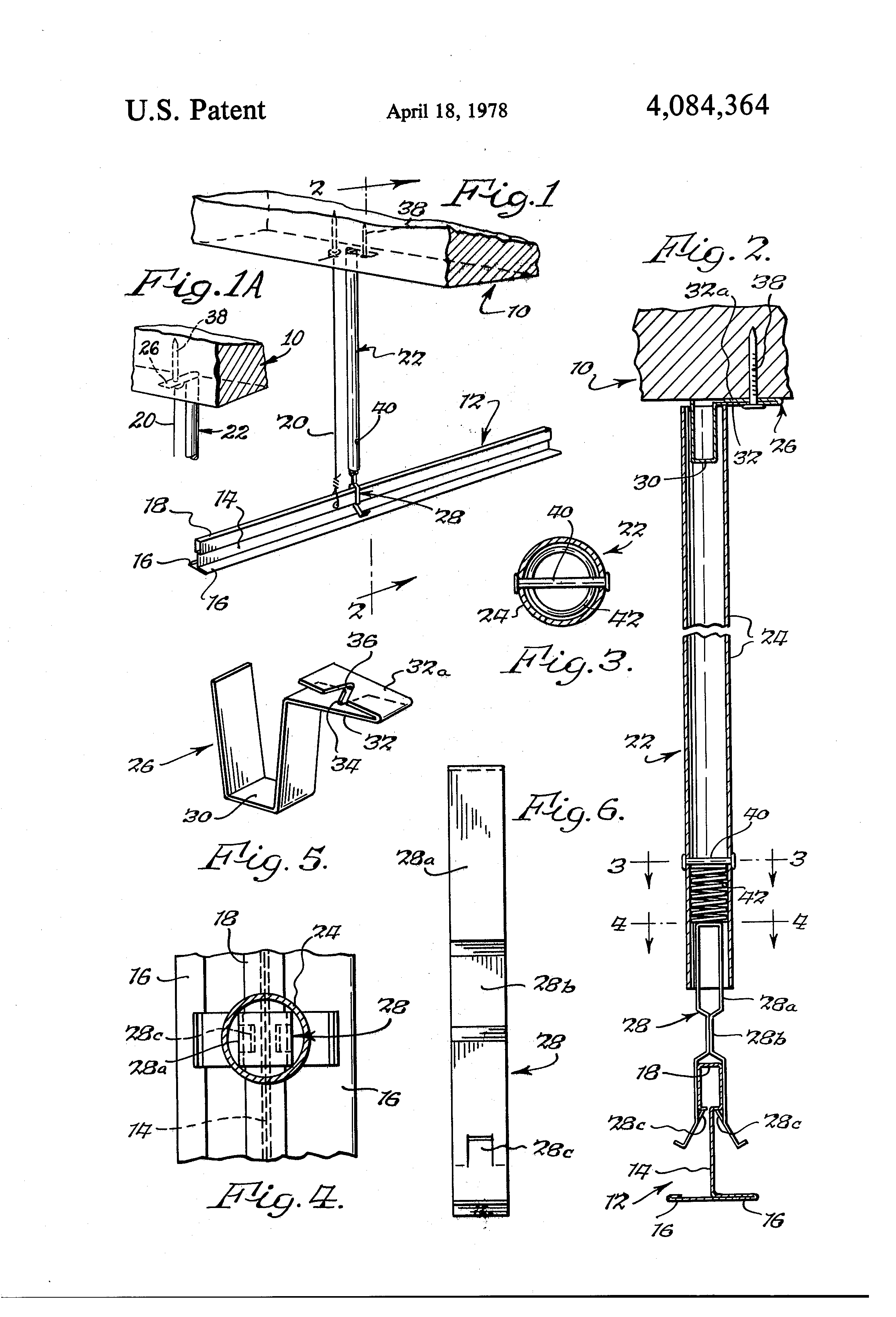 Patent Us4084364 Compression Strut For Suspended Ceiling
