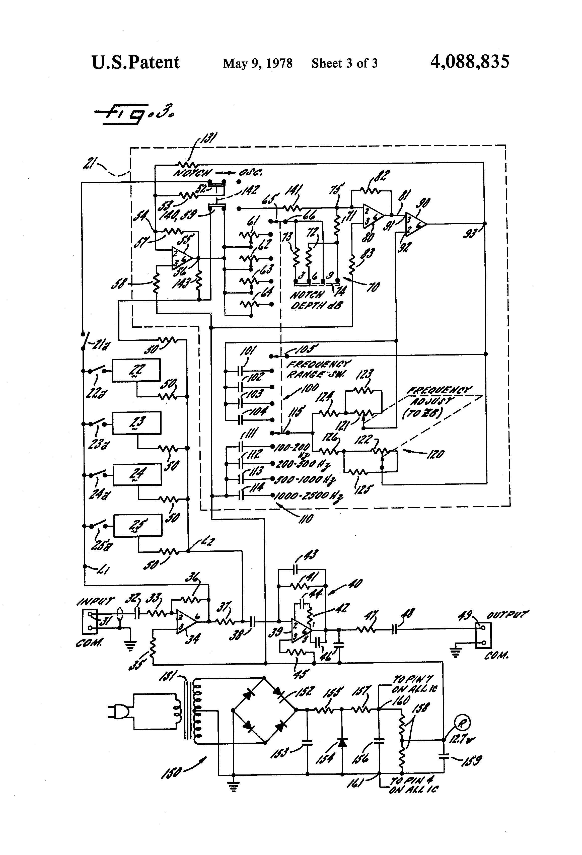 Patent Us4088835 Comprehensive Feedback Elimination System Diagram Further 741 Op Circuit Diagrams On Stereo Equalizer Hook Up Drawing
